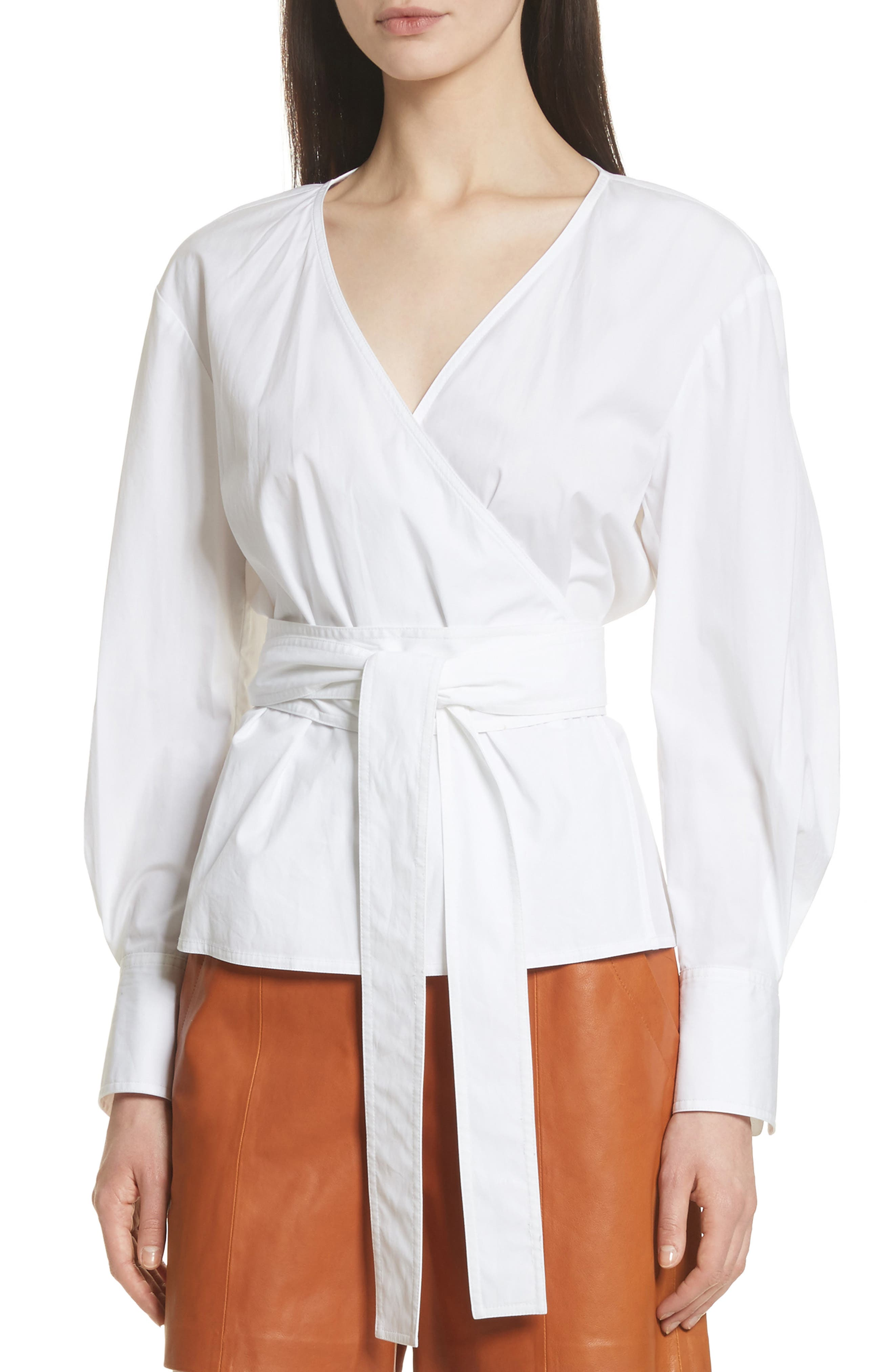 Puff Sleeve Poplin Wrap Blouse,                         Main,                         color, Star White