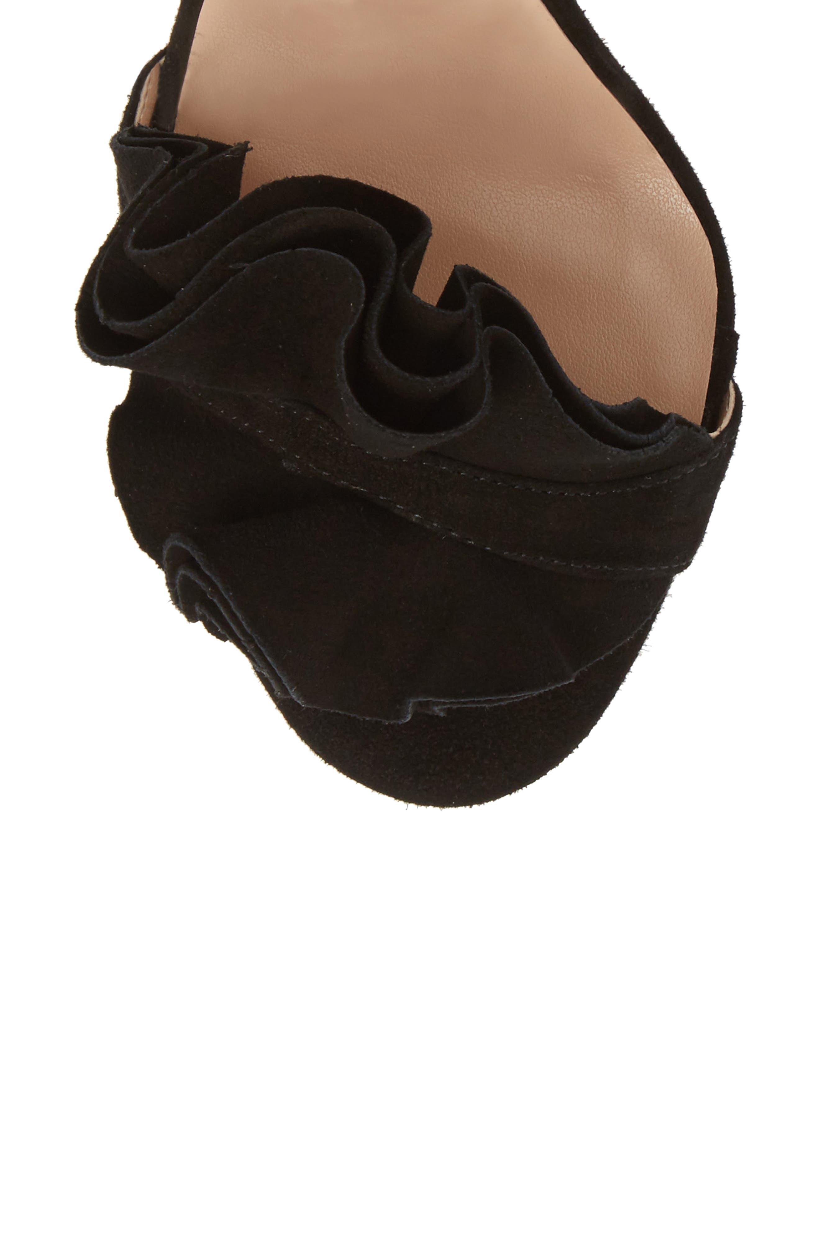 Kalipso Ruffled Wraparound Sandal,                             Alternate thumbnail 5, color,                             Black Suede