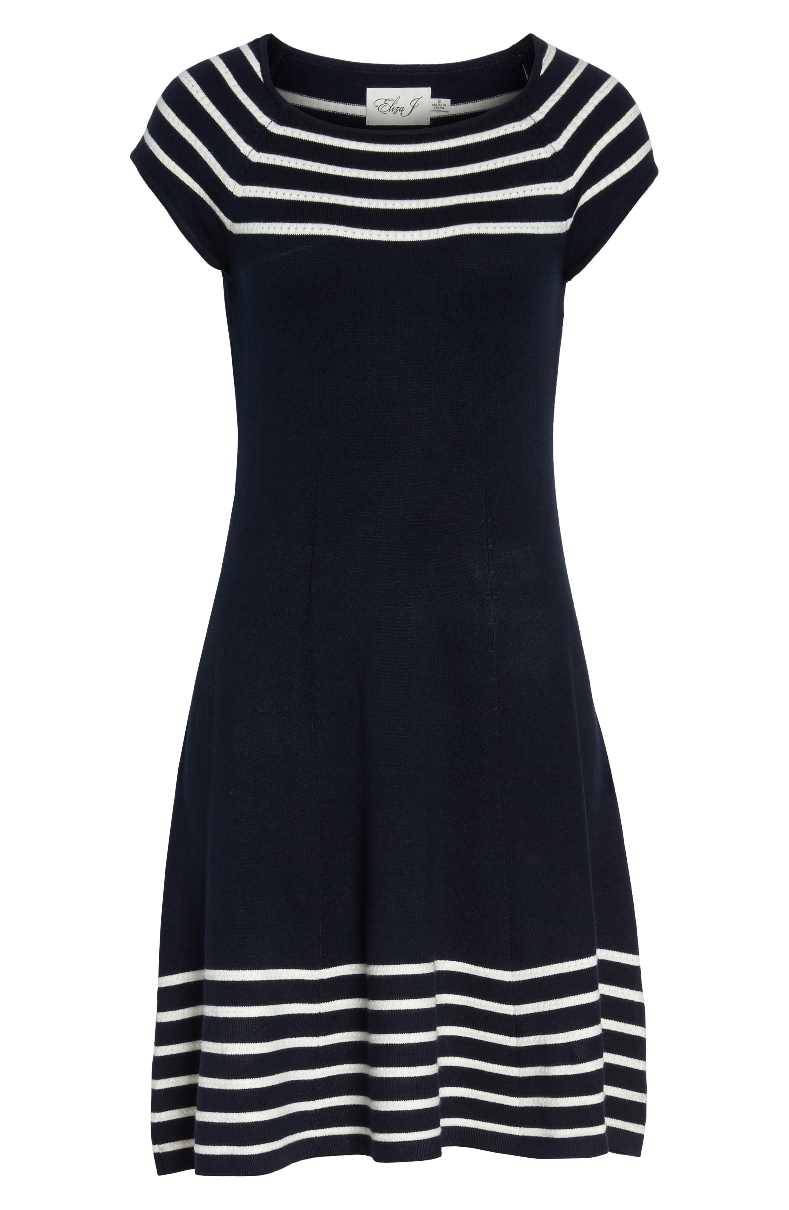 Stripe Knit Flared Dress,                             Alternate thumbnail 6, color,                             Ivory/ Navy