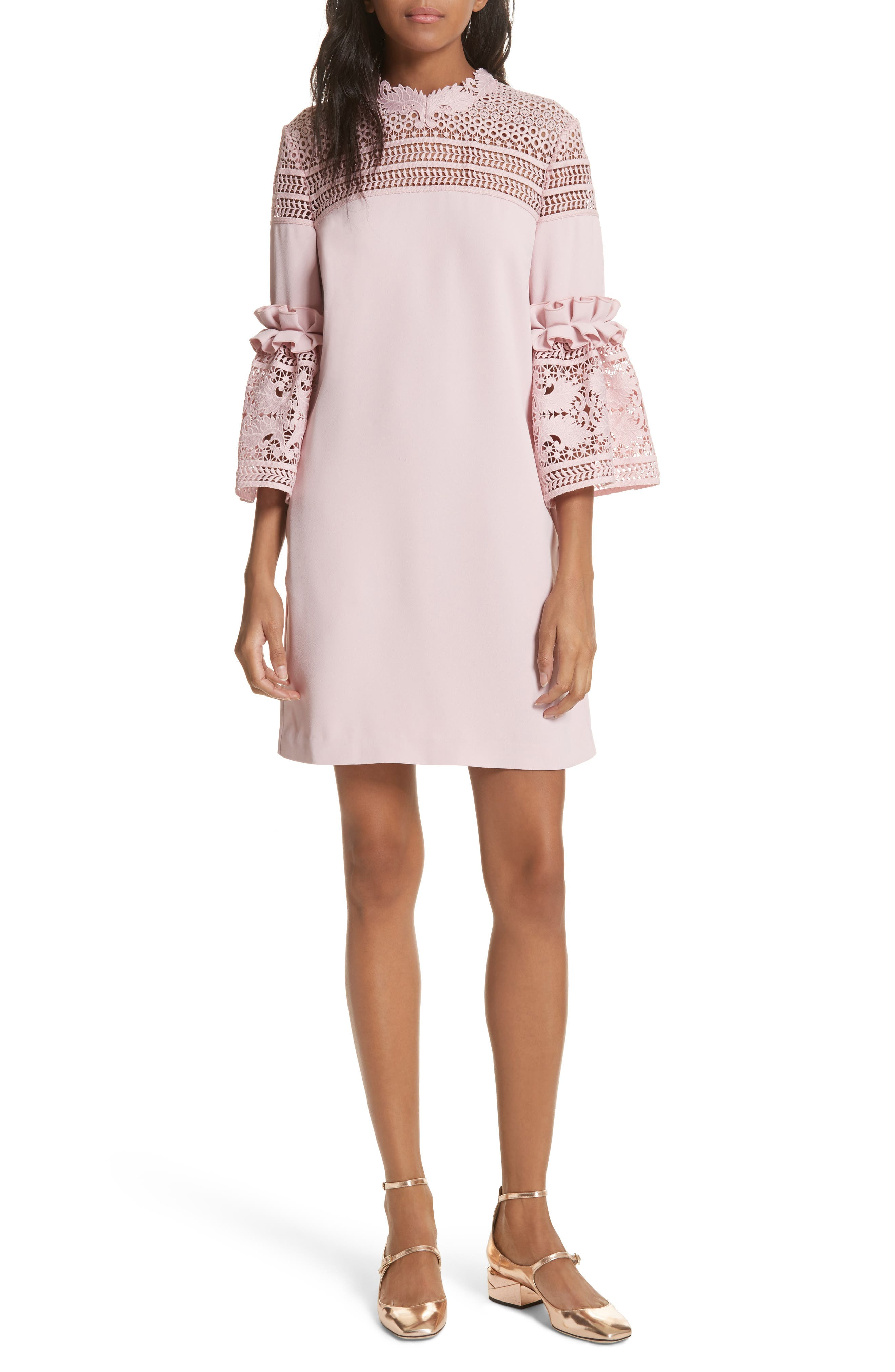 Lace Panel Bell Sleeve Tunic Dress,                             Main thumbnail 1, color,                             Dusky Pink