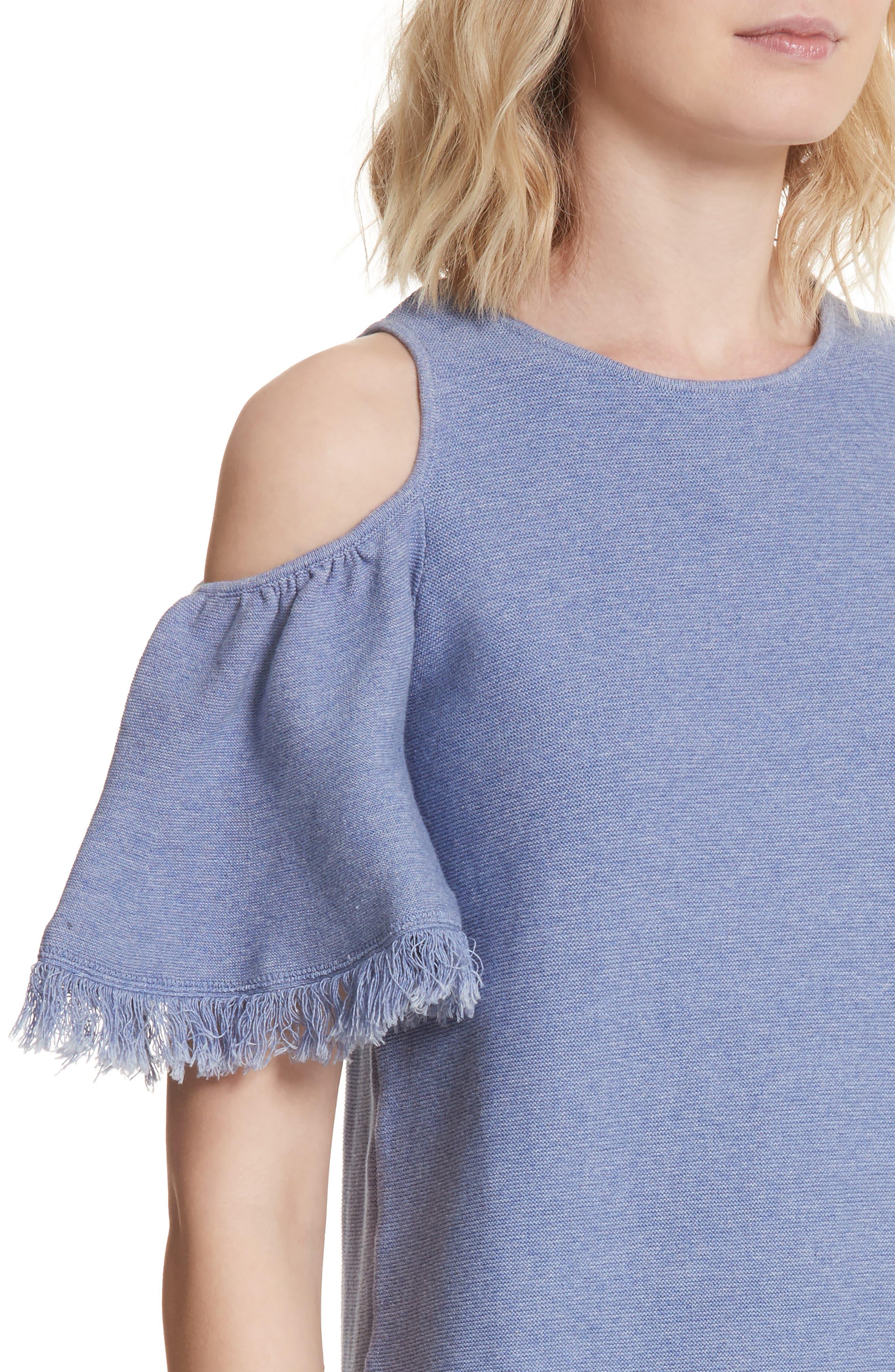 Denim Knit Fringe Cold Shoulder Minidress,                             Alternate thumbnail 4, color,                             Chambray