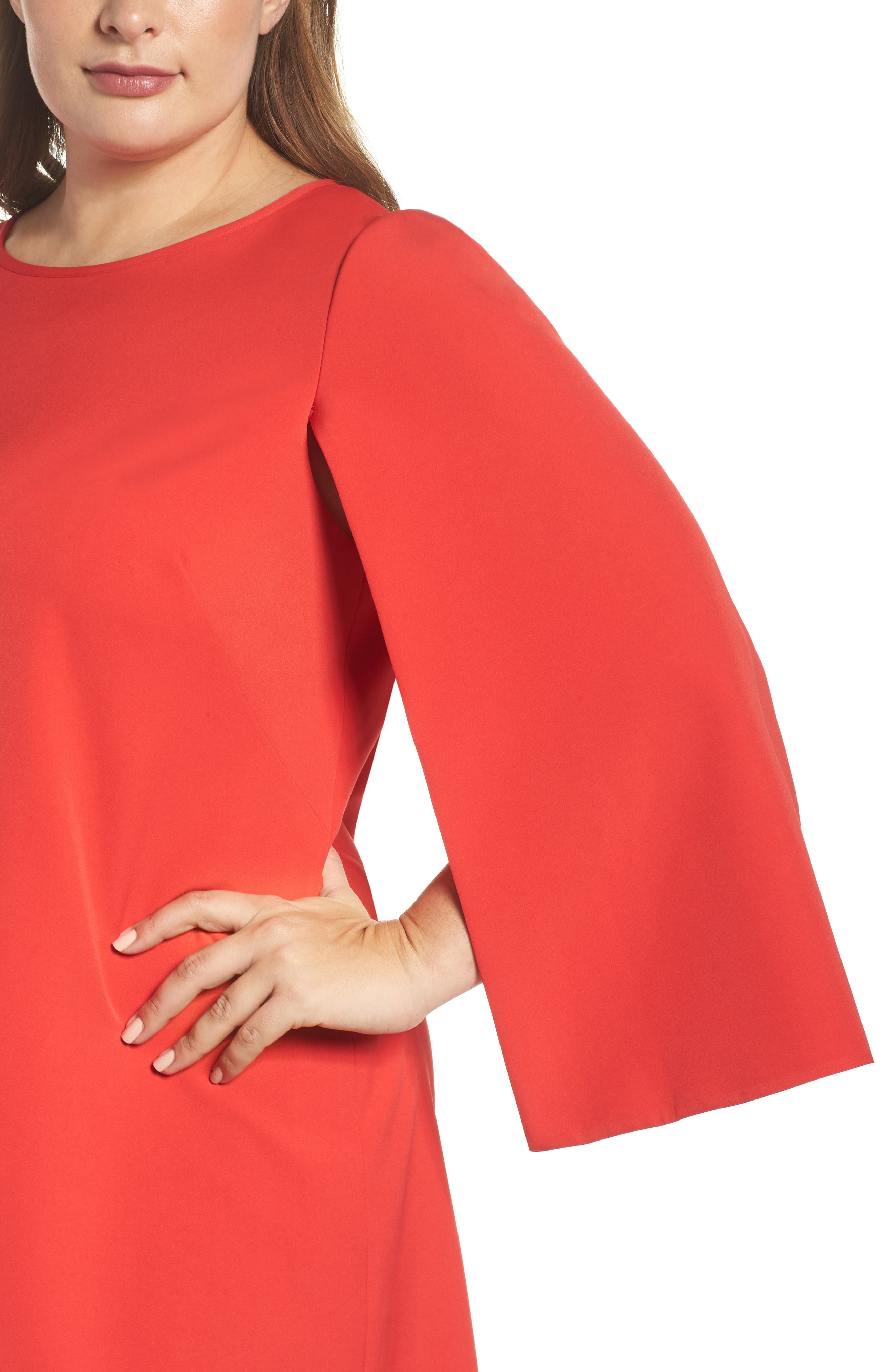Jewel Neck Cape Sleeve Dress,                             Alternate thumbnail 6, color,                             Red