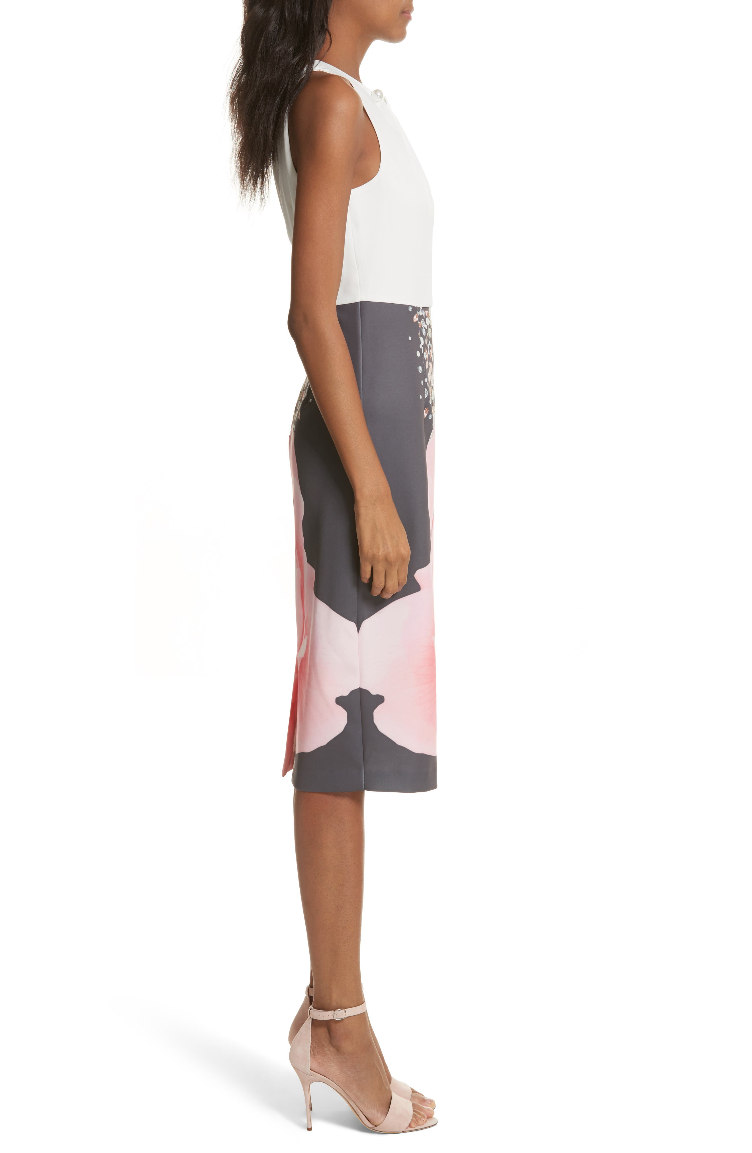 Blenheim Palace Embellished Body-Con Dress,                             Alternate thumbnail 3, color,                             Natural