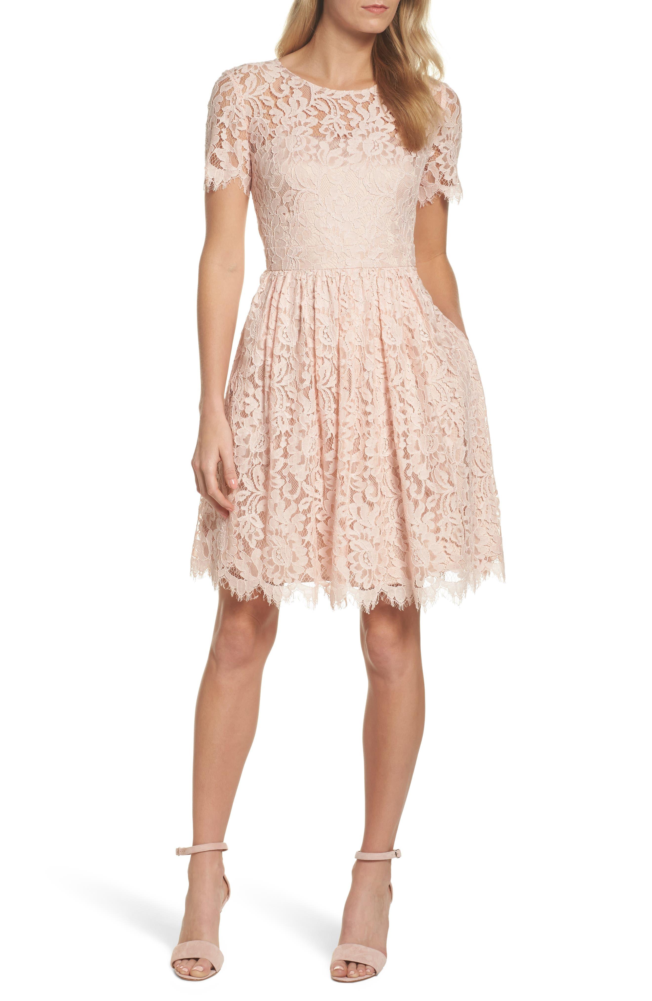 Lace Fit & Flare Dress,                             Main thumbnail 1, color,                             Peach