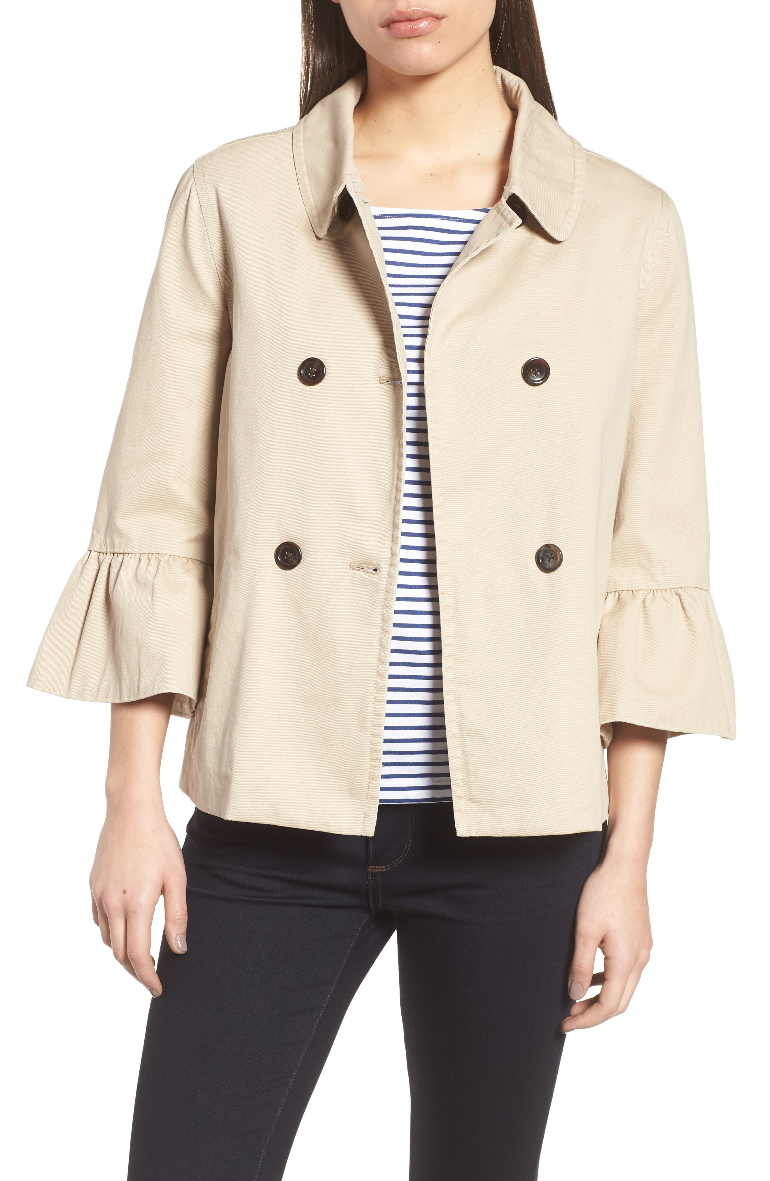 Casual Peplum Sleeve Utility Jacket,                         Main,                         color, Khaki