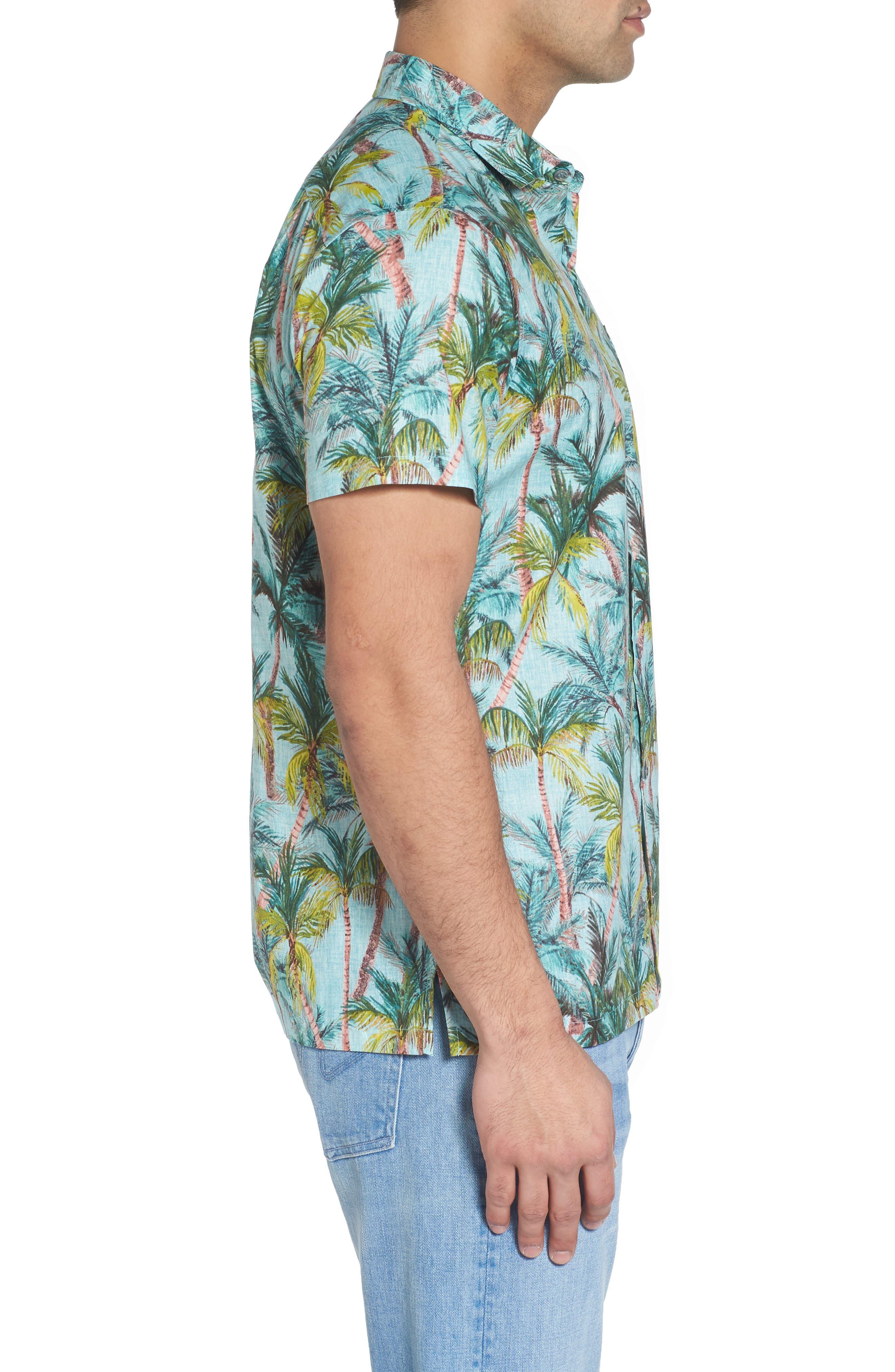 Coco Vida Trim Fit Print Cotton Lawn Sport Shirt,                             Alternate thumbnail 3, color,                             Surf