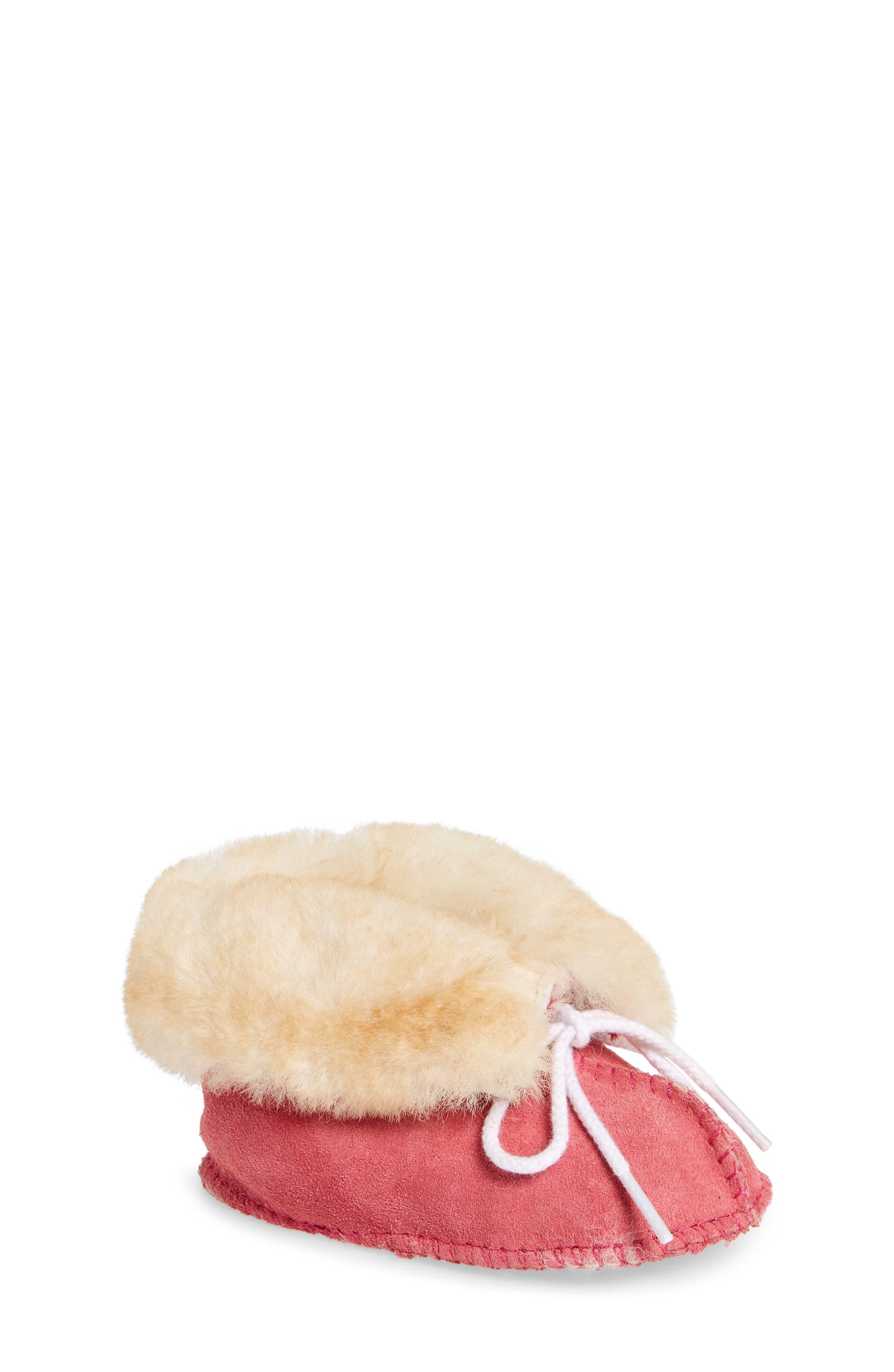 Genuine Shearling Crib Moccasin,                             Main thumbnail 1, color,                             Hot Pink