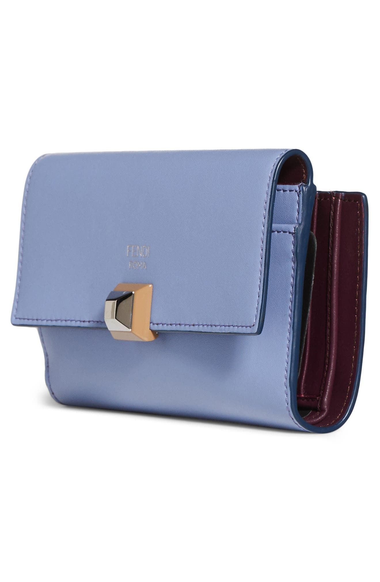 Medium Leather Wallet,                             Alternate thumbnail 4, color,                             Sky