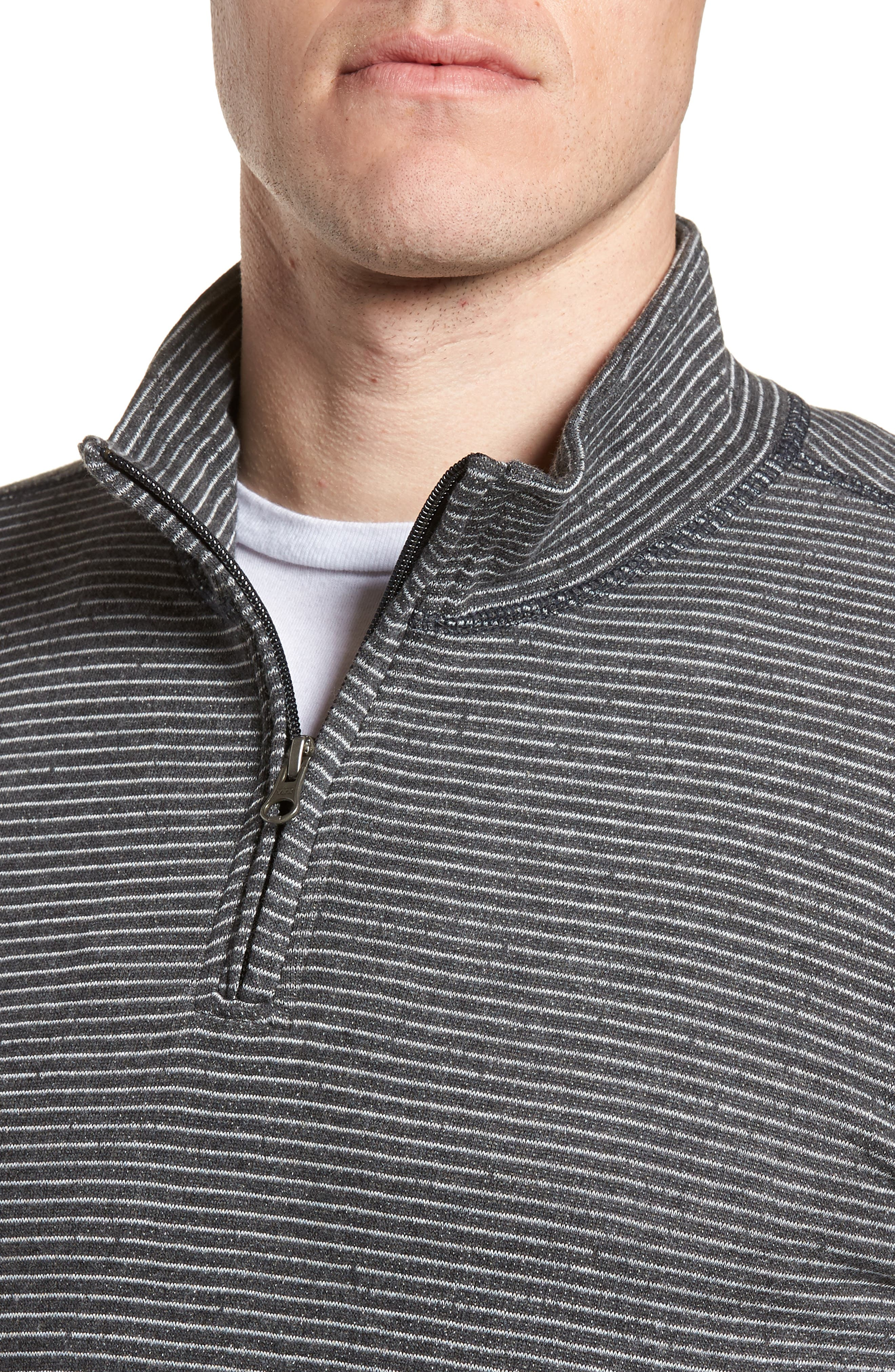 Space Dye Stripe French Terry Pullover,                             Alternate thumbnail 4, color,                             Charcoal