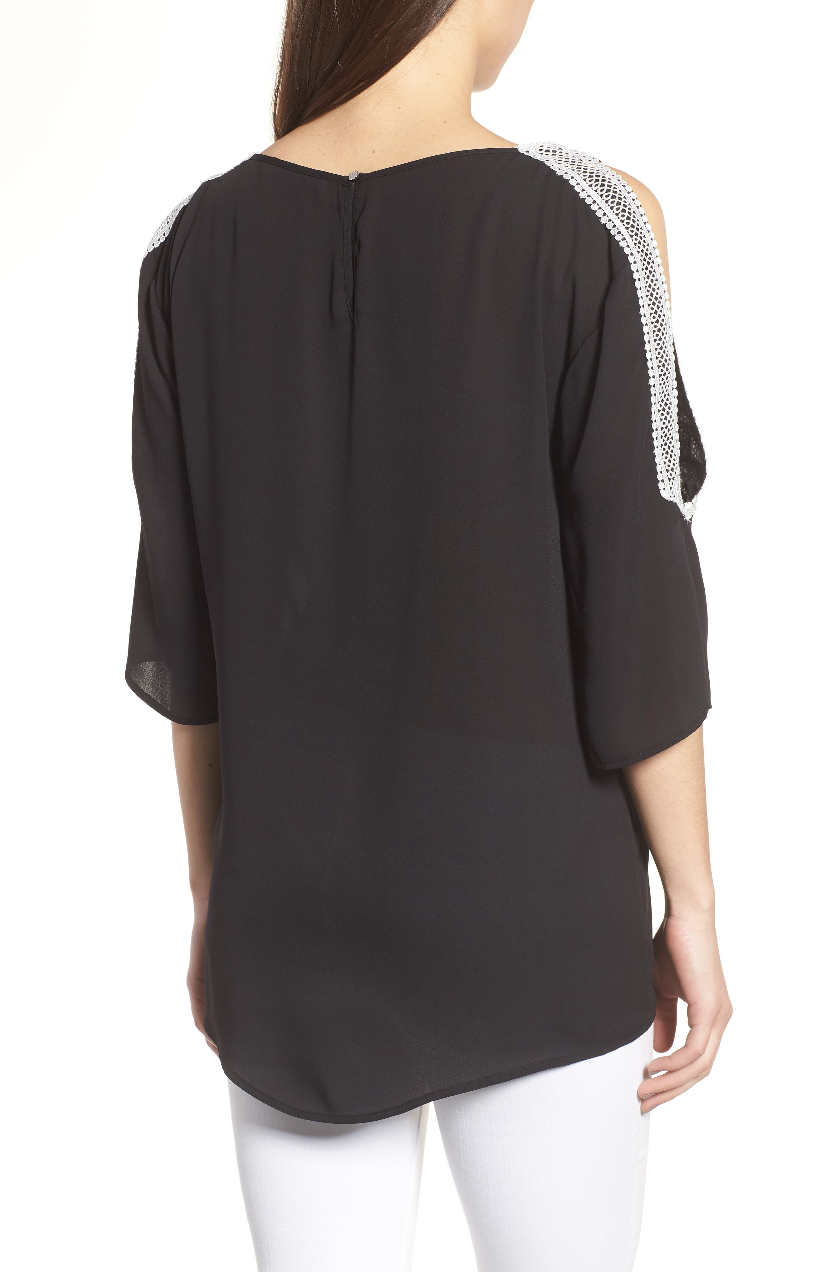 Embroidered Off the Shoulder louse,                             Alternate thumbnail 2, color,                             060-Rich Black