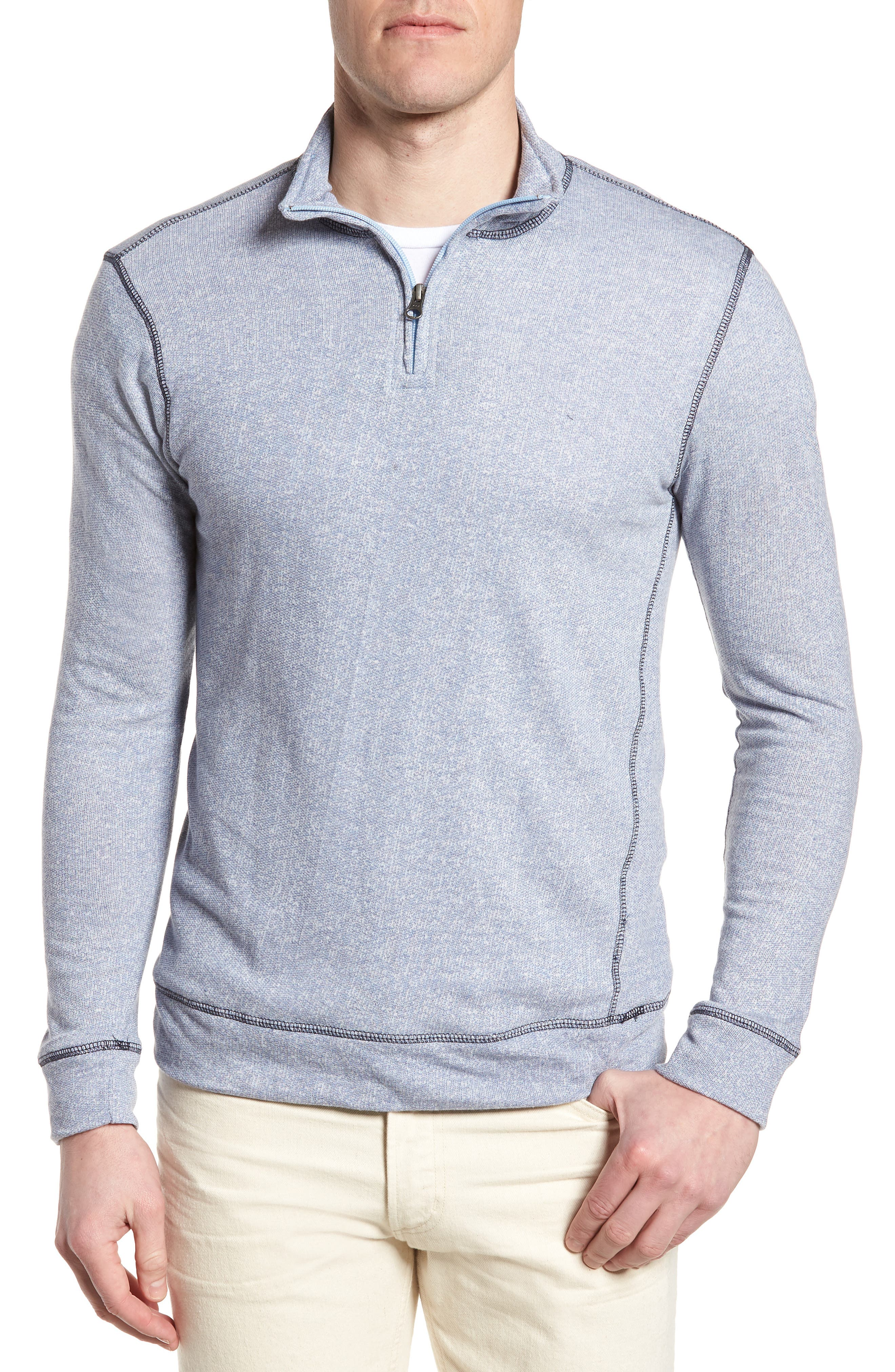 Regular Fit French Terry Pullover,                             Main thumbnail 1, color,                             Nautical Blue