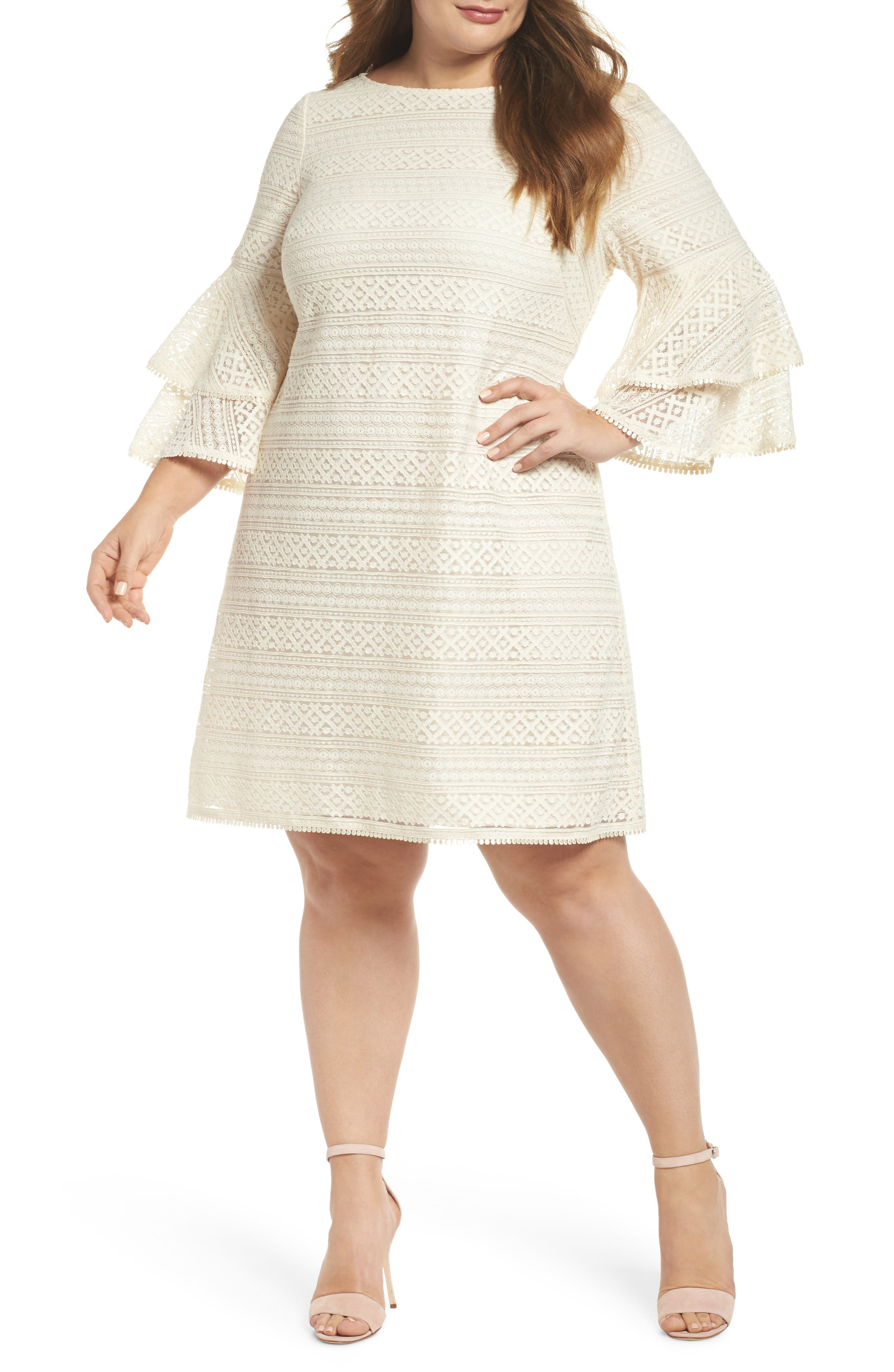 Bell Sleeve Lace Shift Dress,                             Main thumbnail 1, color,                             Ivory