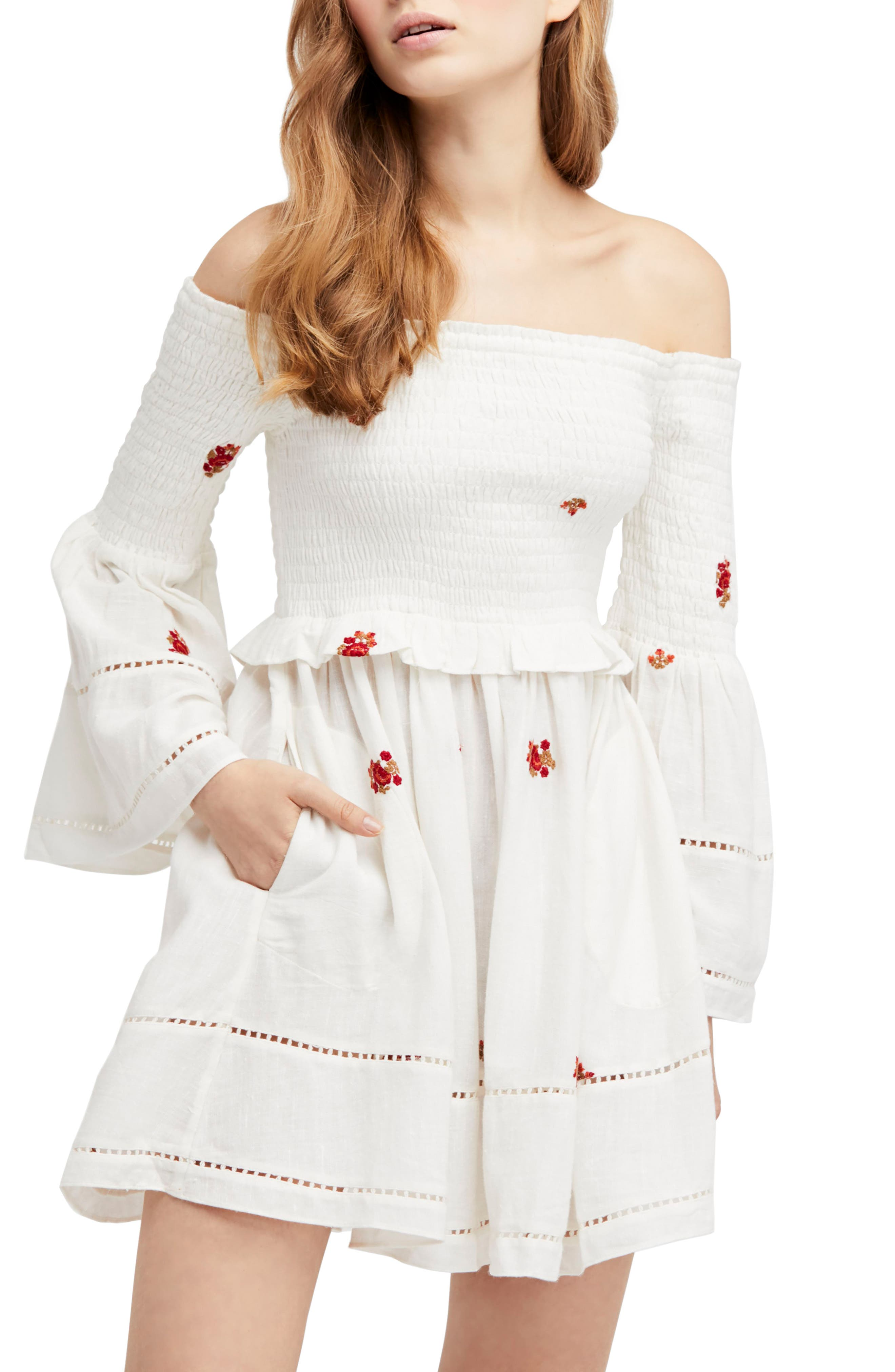 Counting Daisies Embroidered Off the Shoulder Dress,                             Main thumbnail 1, color,                             Ivory Combo