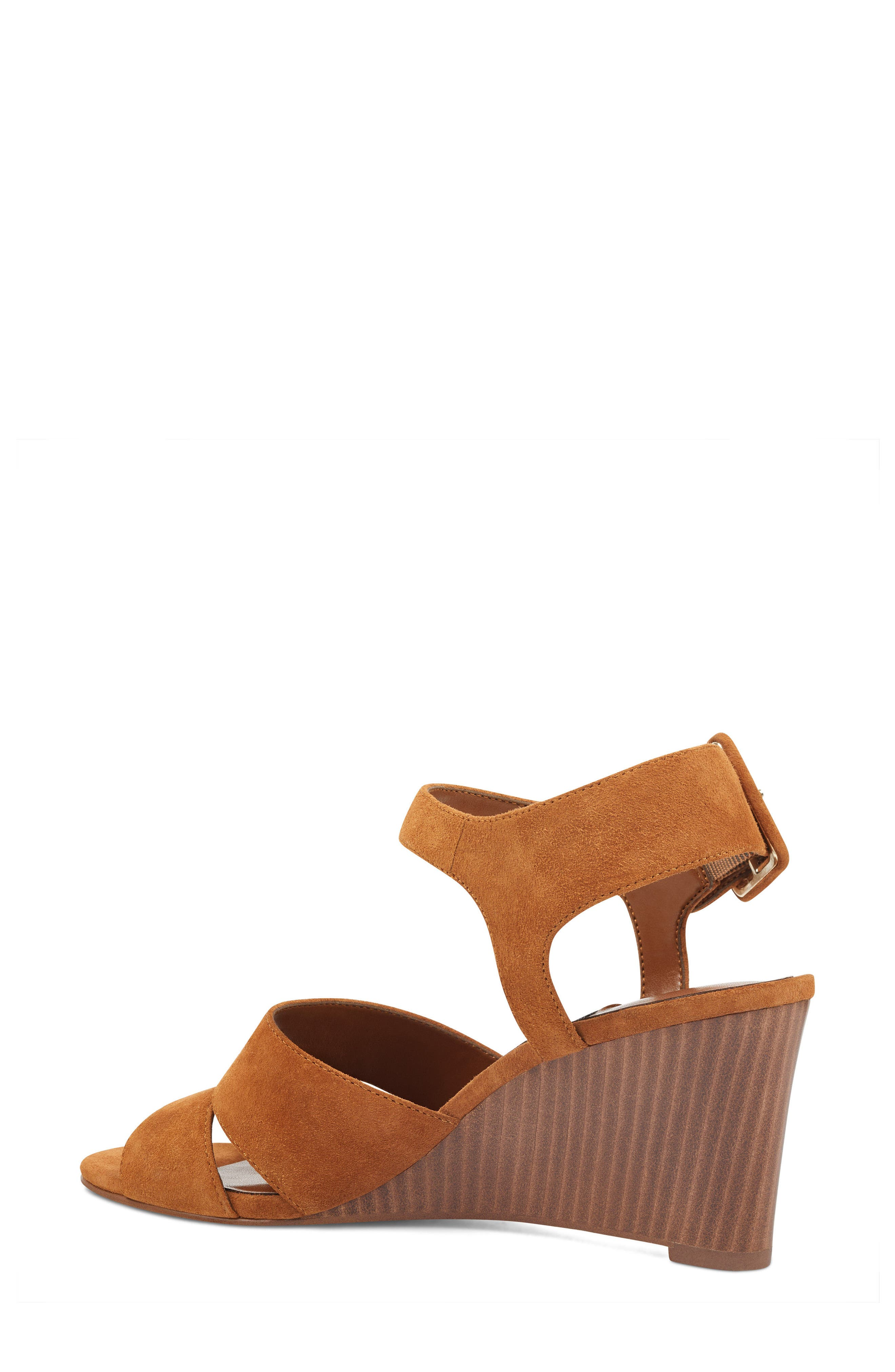 Vahan Wedge Sandal,                             Alternate thumbnail 2, color,                             Dark Natural Suede