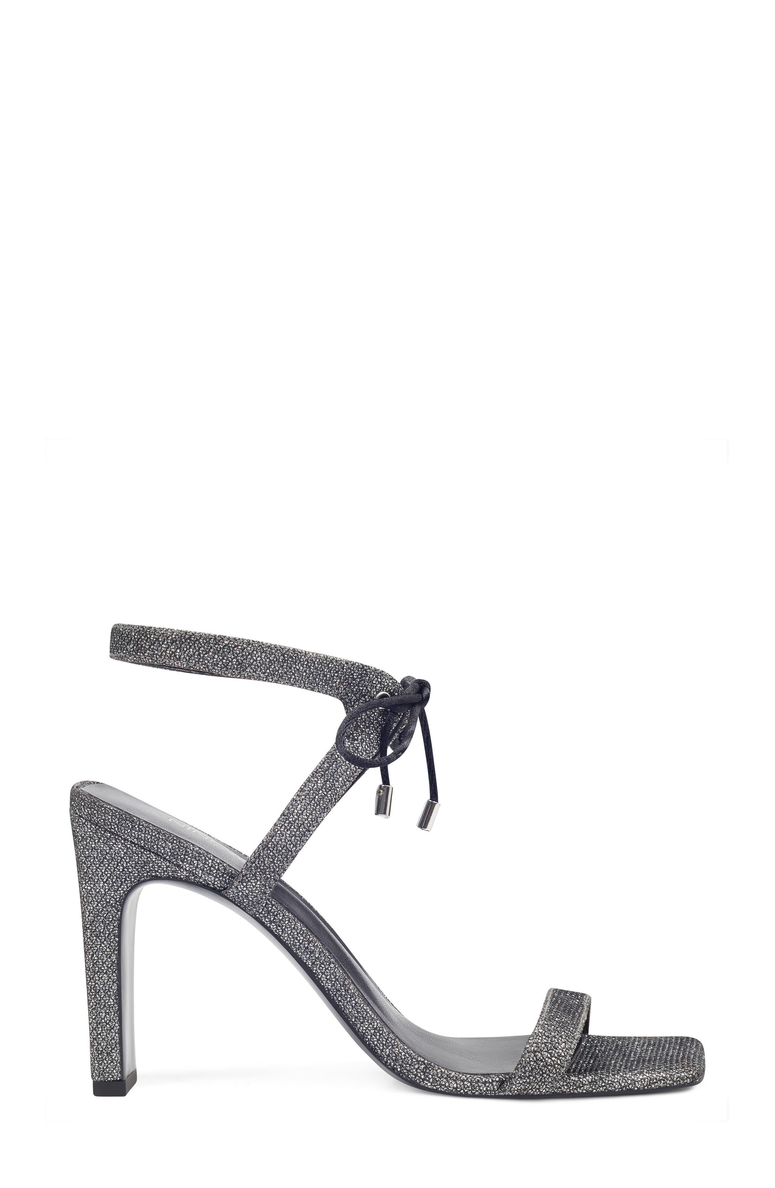 Longitano Squared Toe Sandal,                             Alternate thumbnail 3, color,                             Black/ Silver Fabric