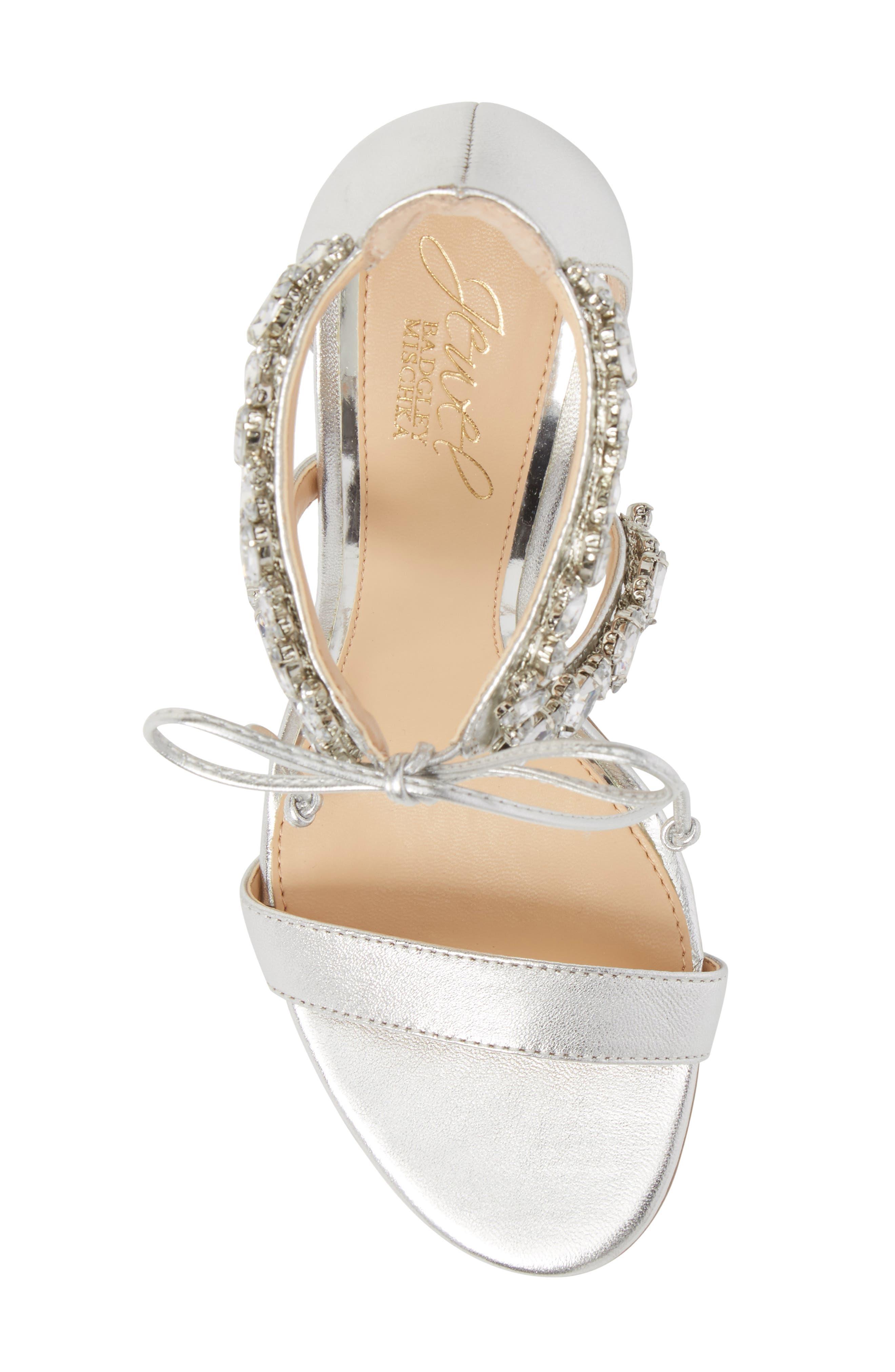 Thamar Embellished Sandal,                             Alternate thumbnail 5, color,                             Silver Leather