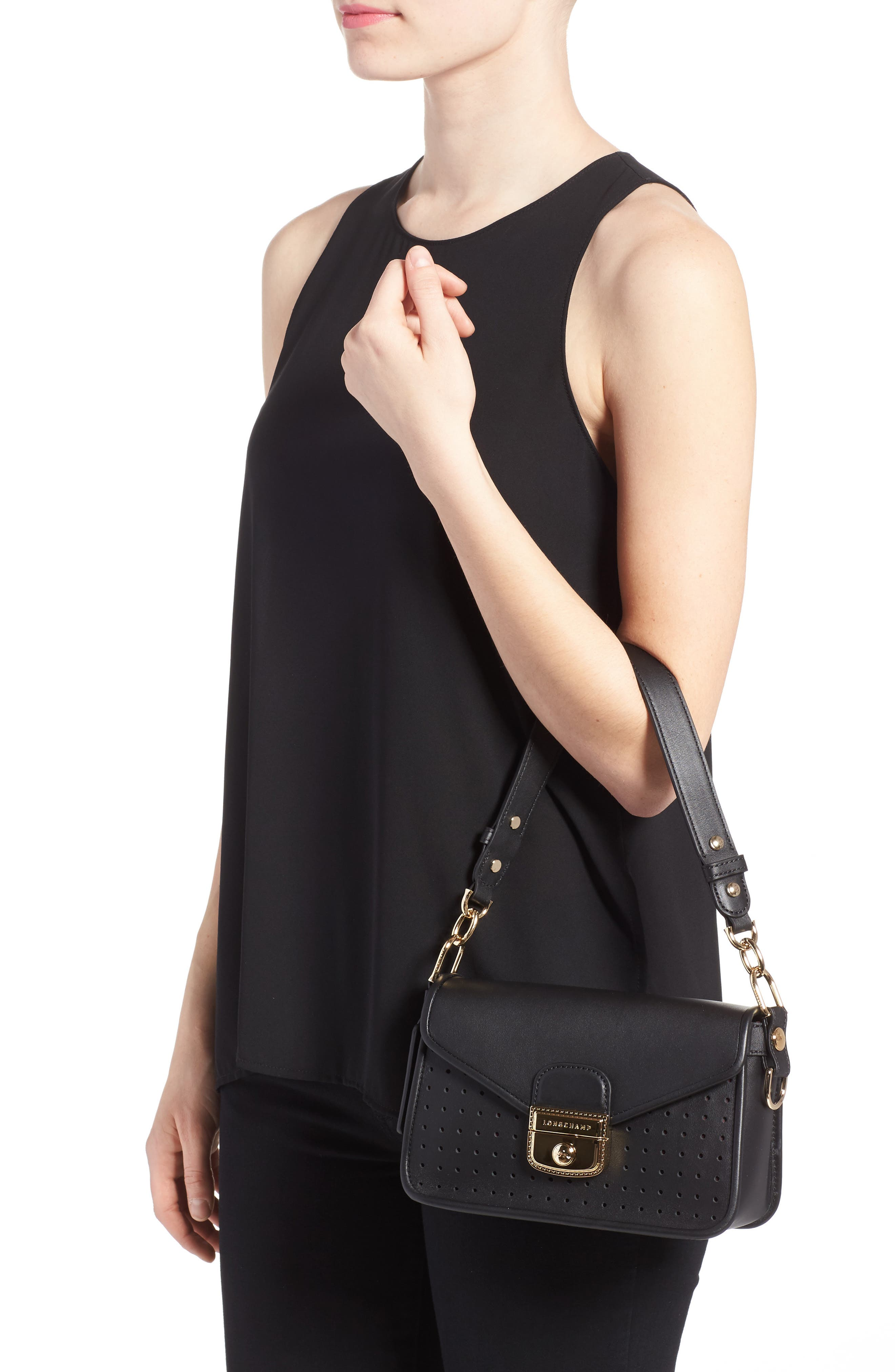 Small Mademoiselle Calfskin Leather Crossbody Bag,                             Alternate thumbnail 2, color,                             Black