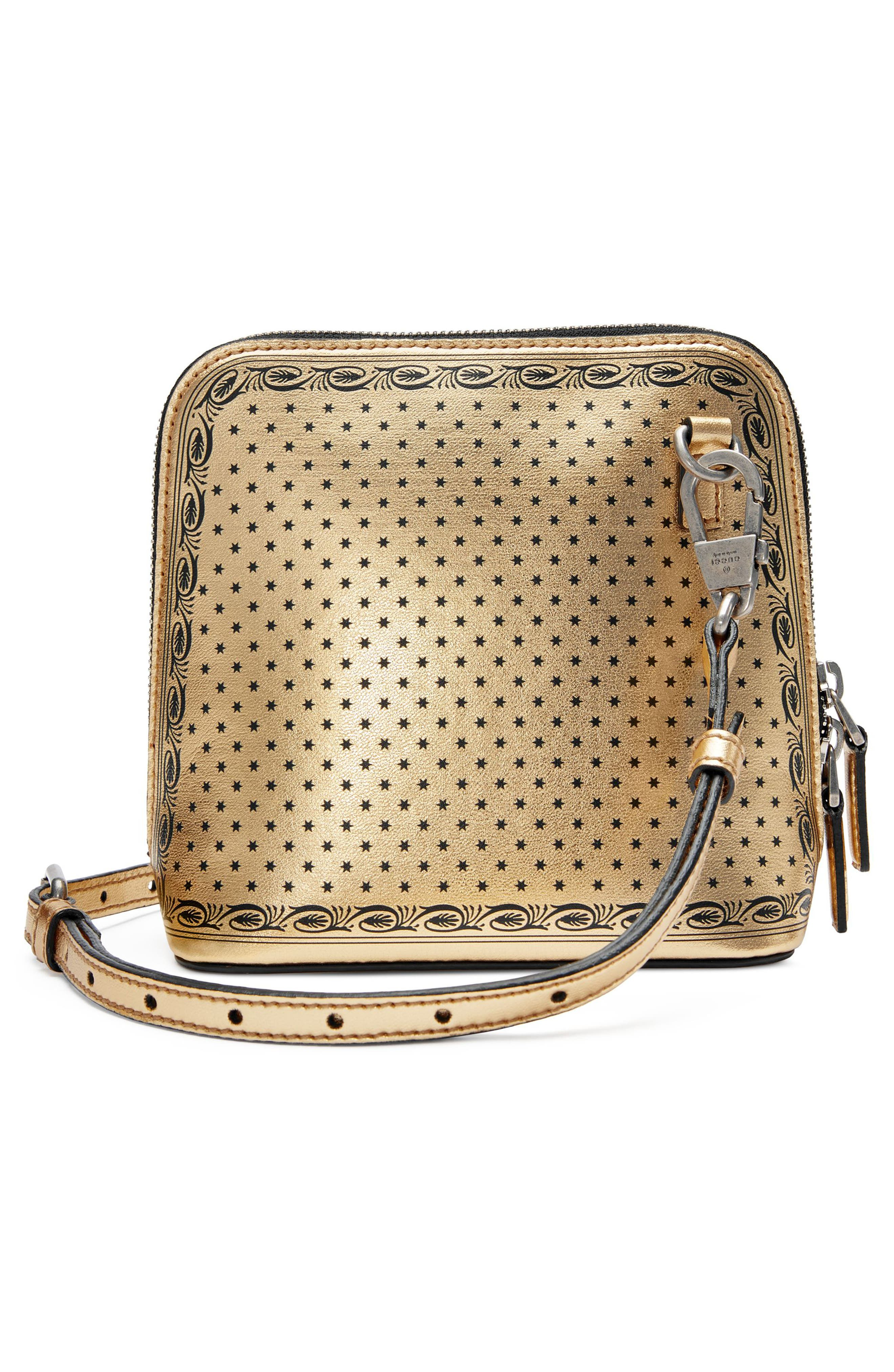 Guccy Logo Moon & Stars Leather Crossbody Bag,                             Alternate thumbnail 2, color,                             Oro/ Nero