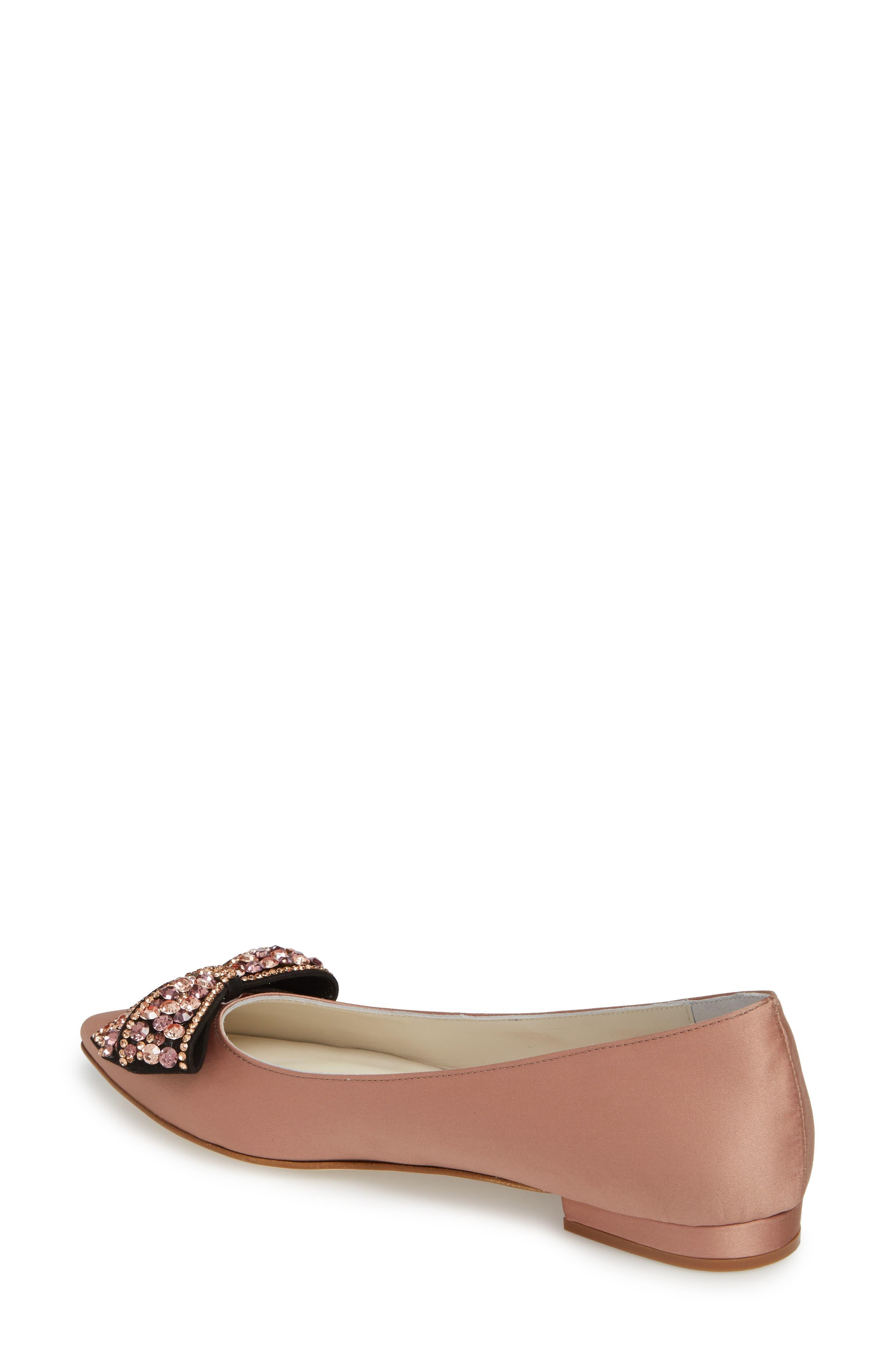 Milva Embellished Bow Pointy Toe Flat,                             Alternate thumbnail 2, color,                             Blush Satin
