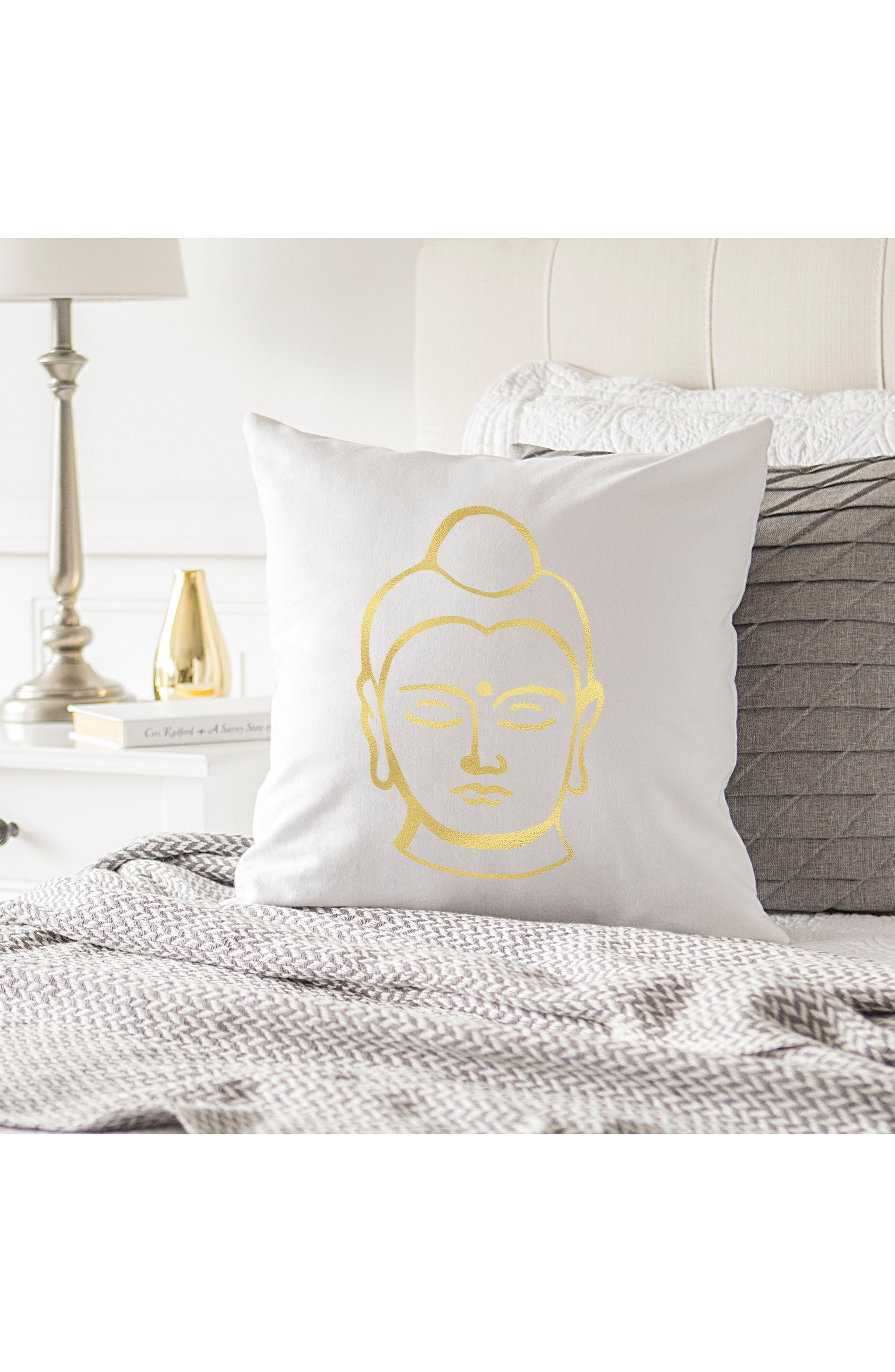 Buddha Accent Pillow,                             Alternate thumbnail 2, color,                             Gold