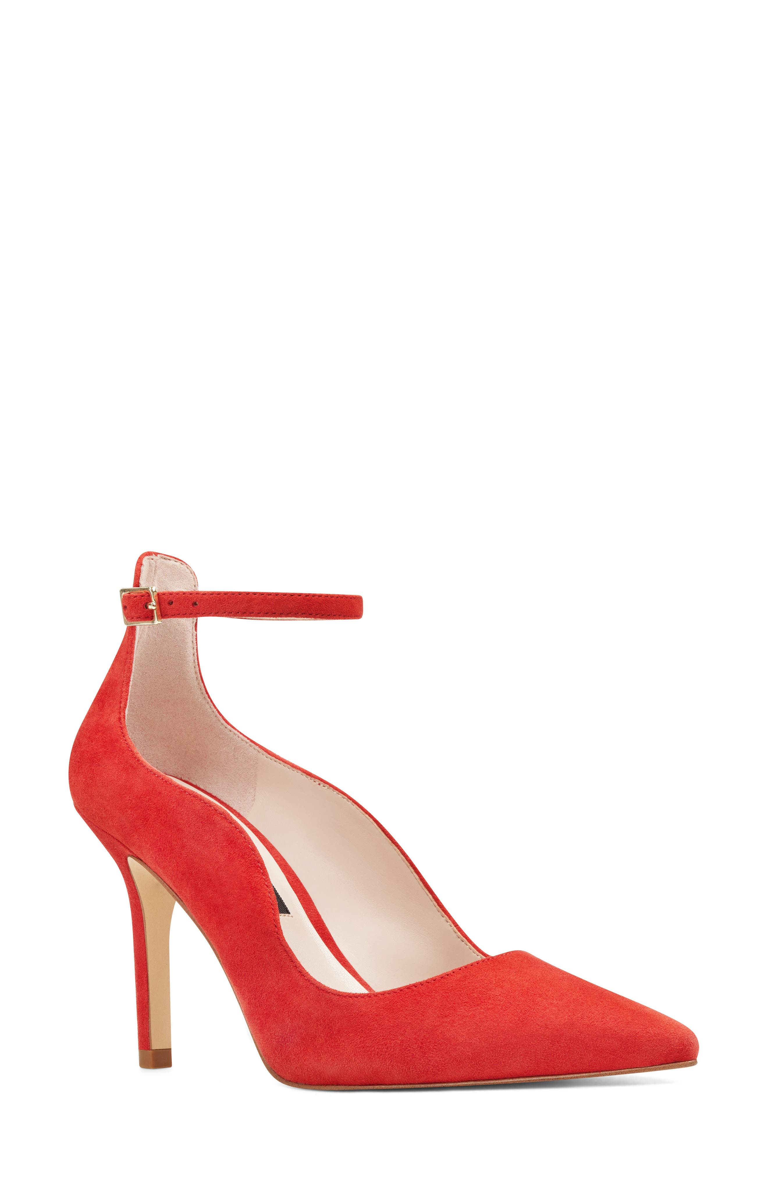 Marquisha Scalloped Ankle Strap Pump,                             Main thumbnail 1, color,                             Red Suede