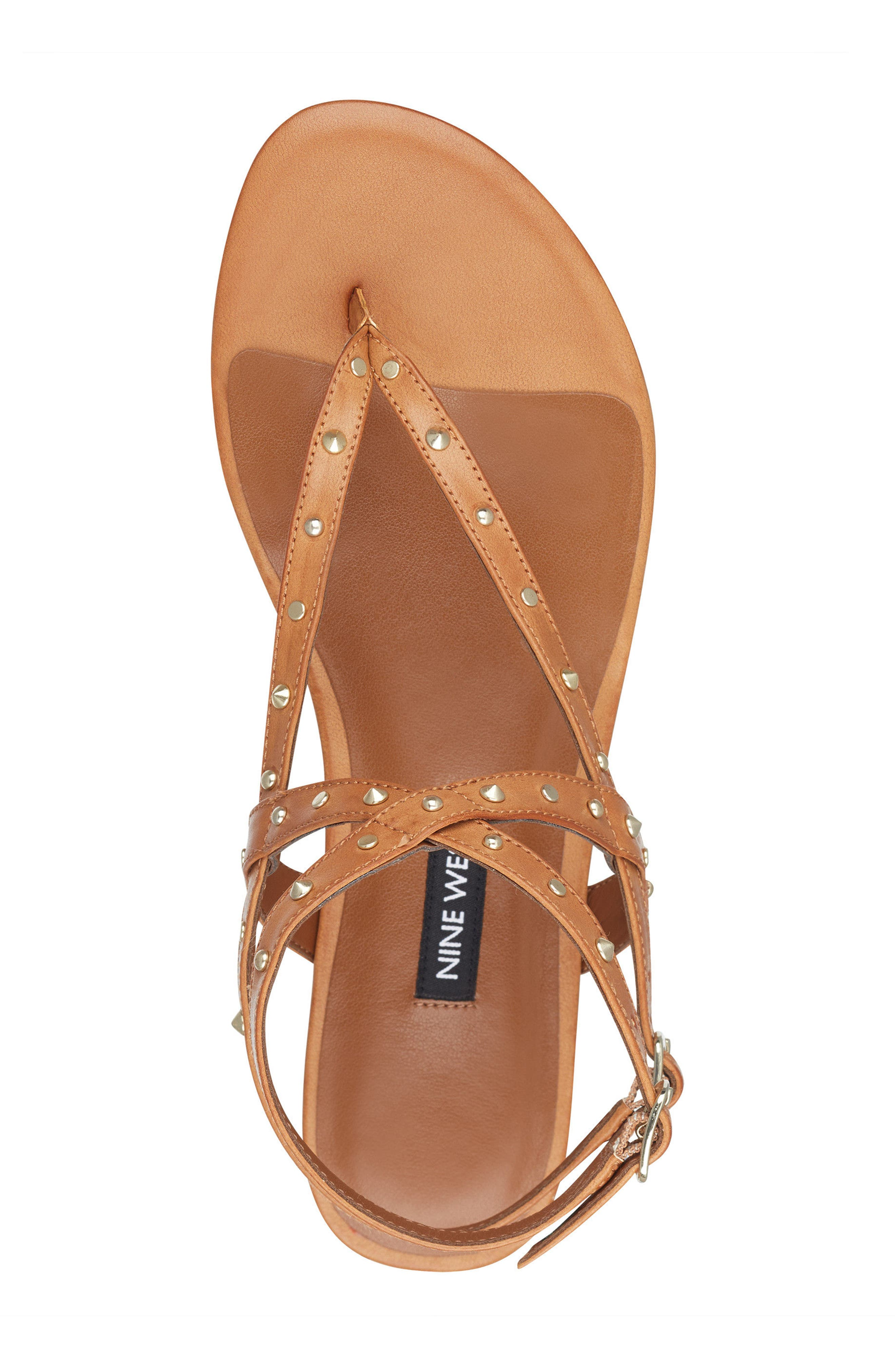 Simcha Studded Wraparound Sandal,                             Alternate thumbnail 5, color,                             Dark Natural Faux Leather