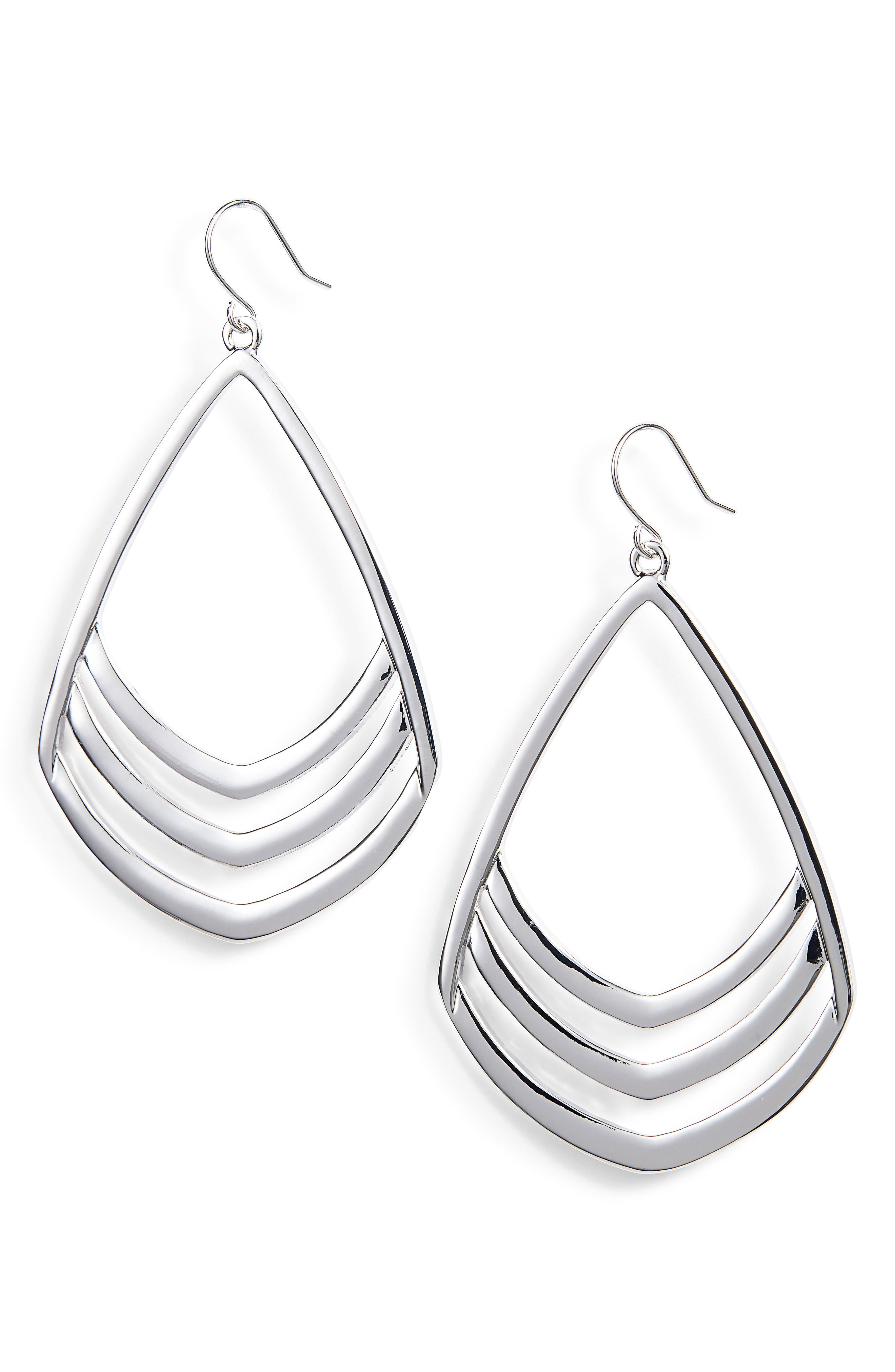 Pear Drop Earrings,                         Main,                         color, Silver