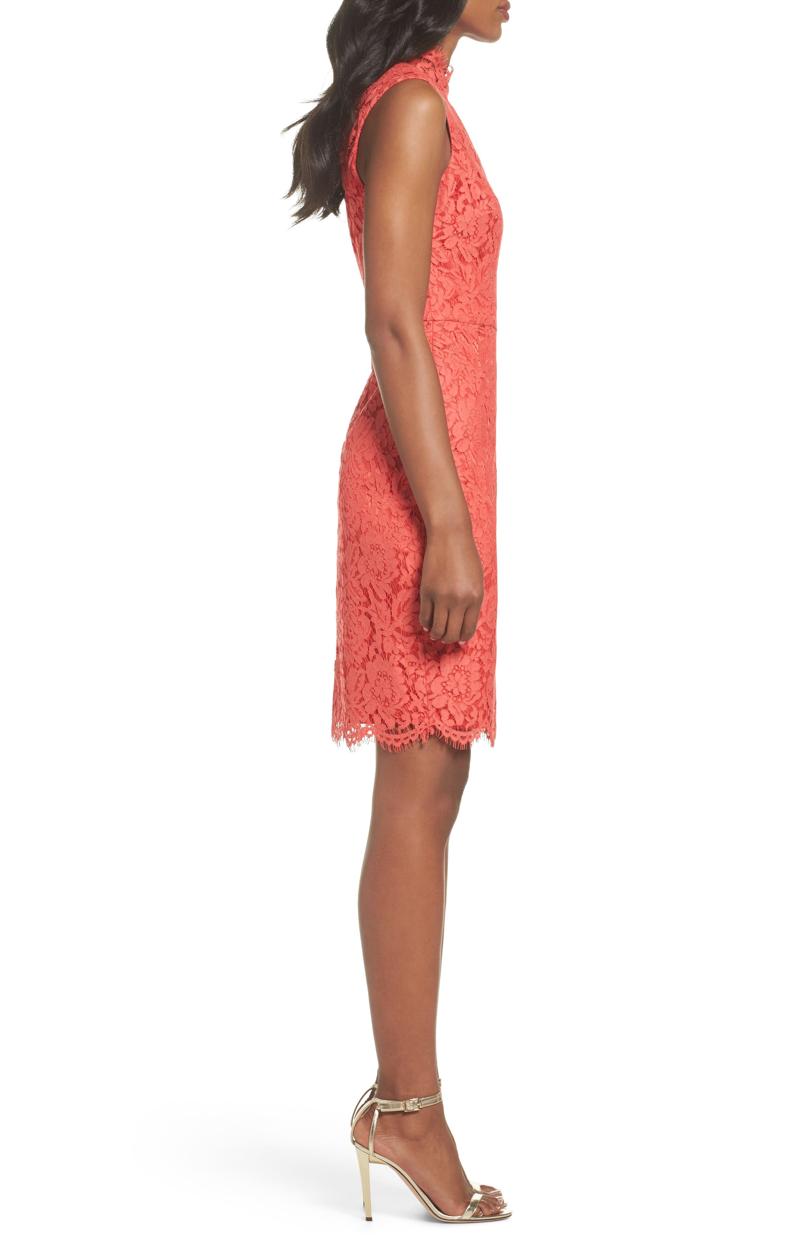 Open Back Lace Sheath Dress,                             Alternate thumbnail 3, color,                             Grenadine