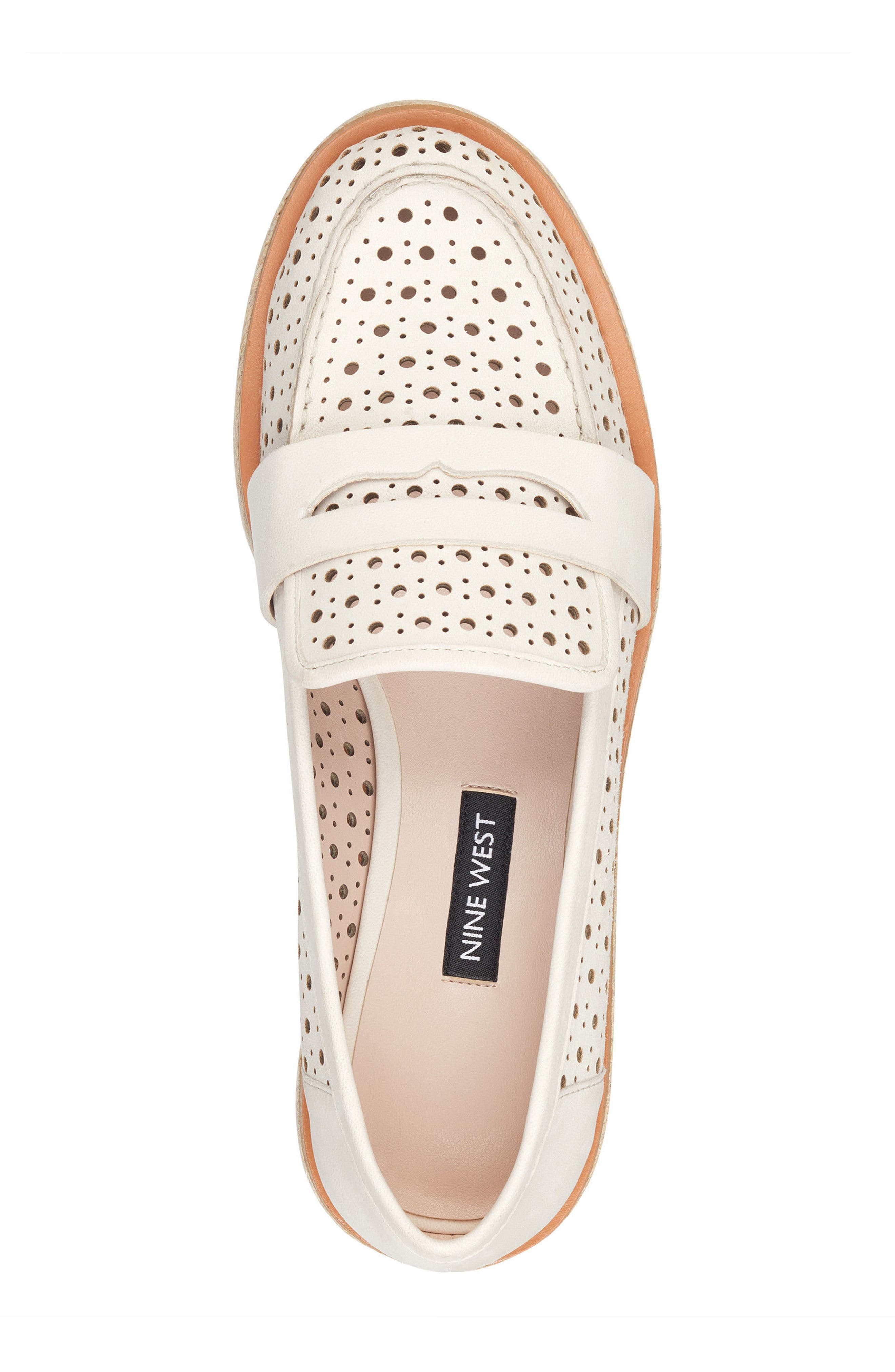Gradskool Perforated Penny Loafer,                             Alternate thumbnail 5, color,                             Off White Leather