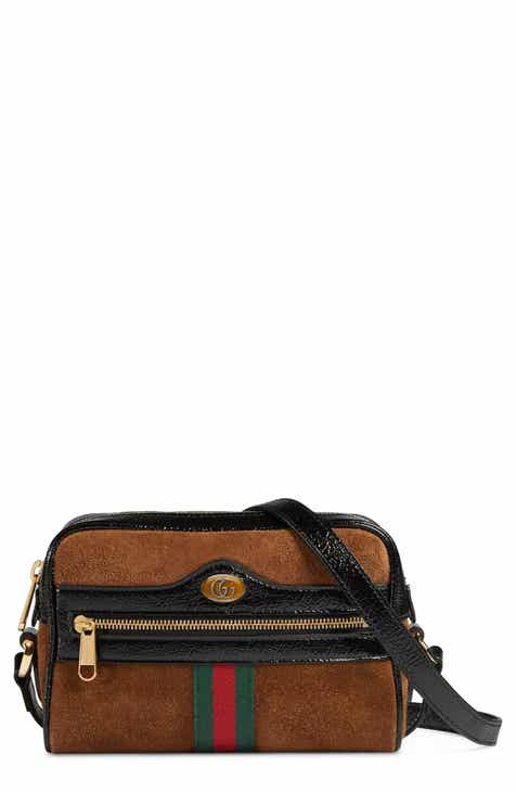d6381aec7 Gucci Ophidia Small Suede & Leather Crossbody Bag