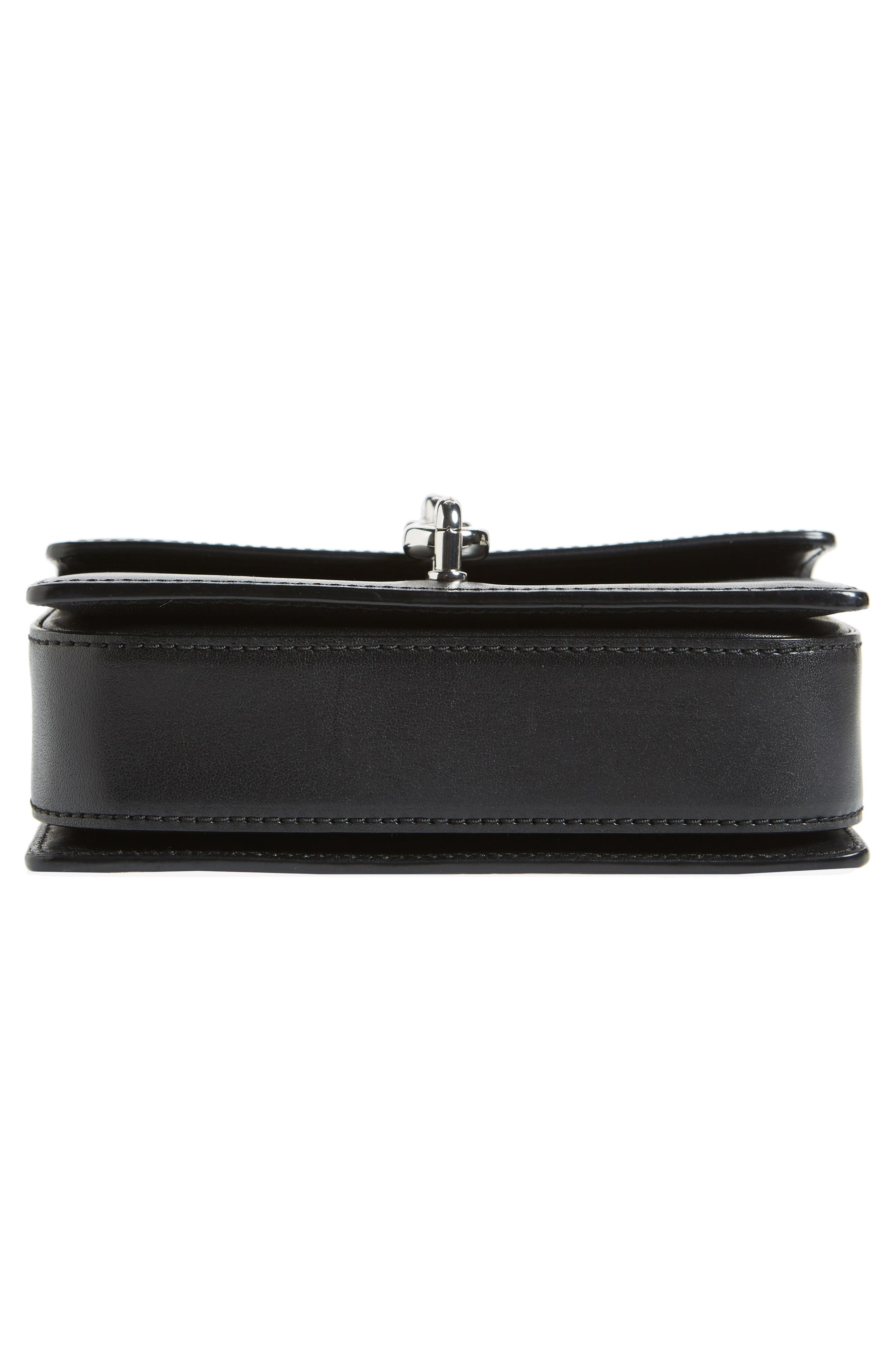 Hook Small Leather Crossbody Bag,                             Alternate thumbnail 6, color,                             Black