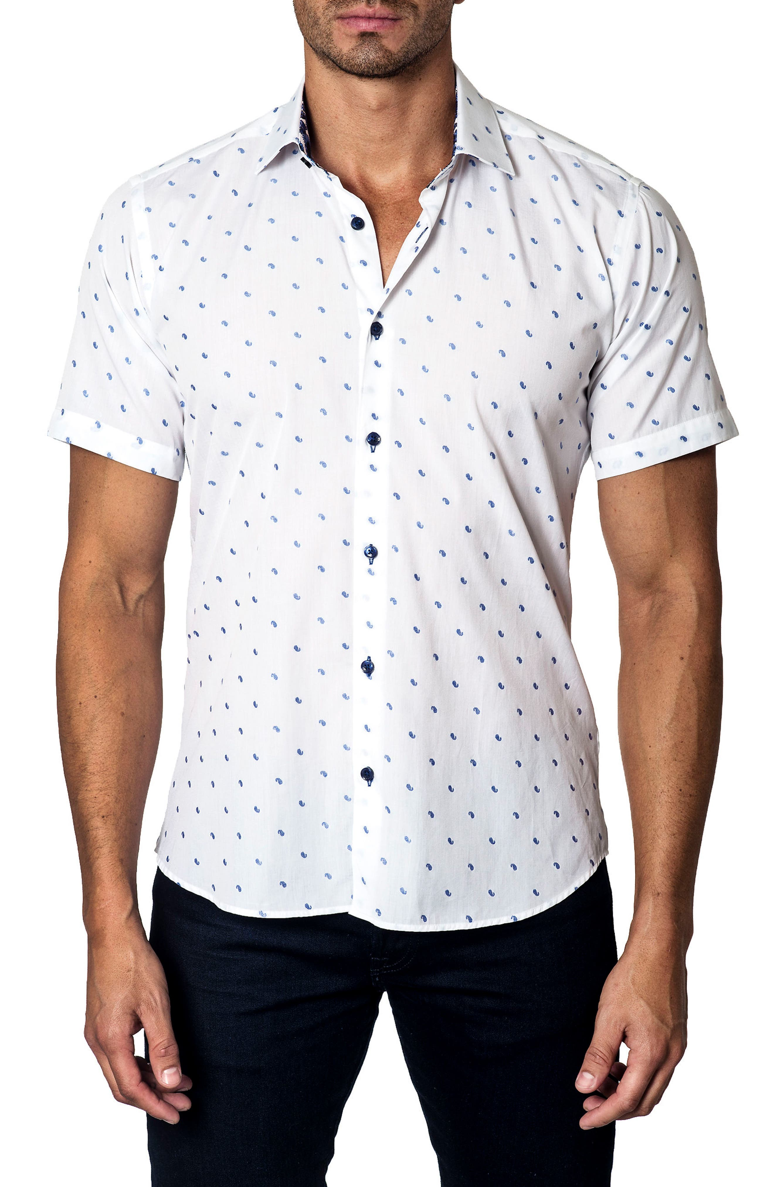 Print Sport Shirt,                         Main,                         color, White/ Blue