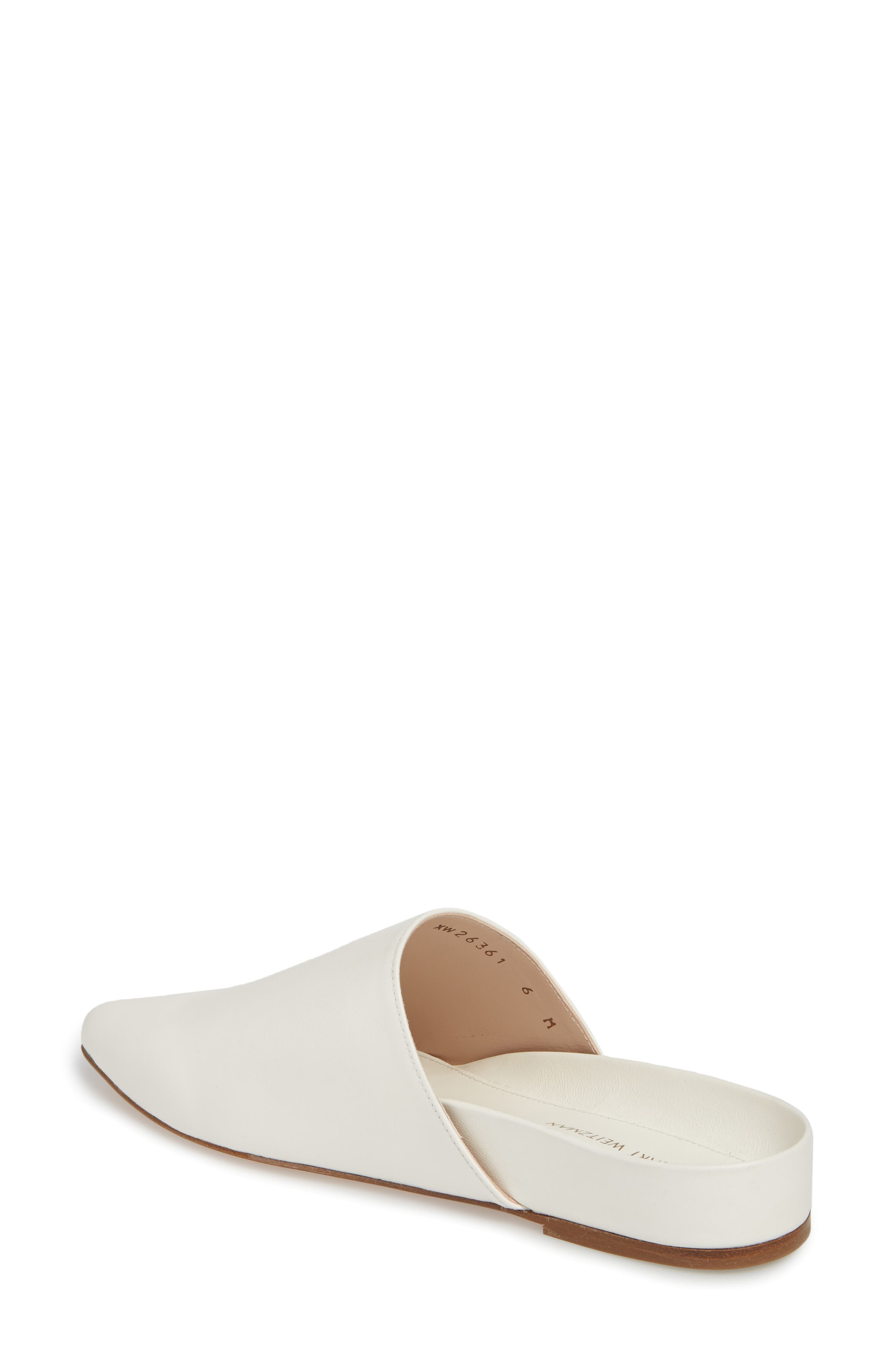 Studio Pointy Toe Flat Mule,                             Alternate thumbnail 2, color,                             White Smooth