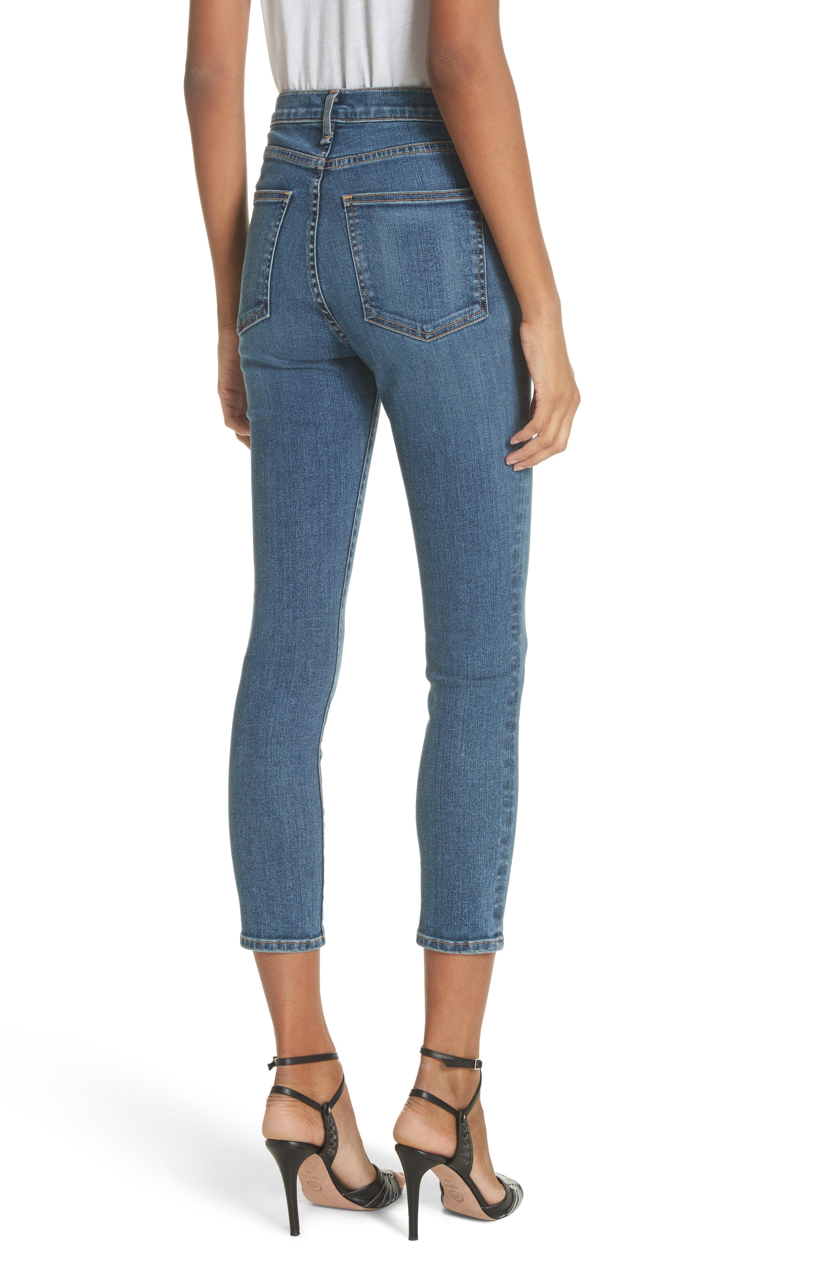 Kate Crop Skinny Jeans,                             Alternate thumbnail 2, color,                             Classic Wash