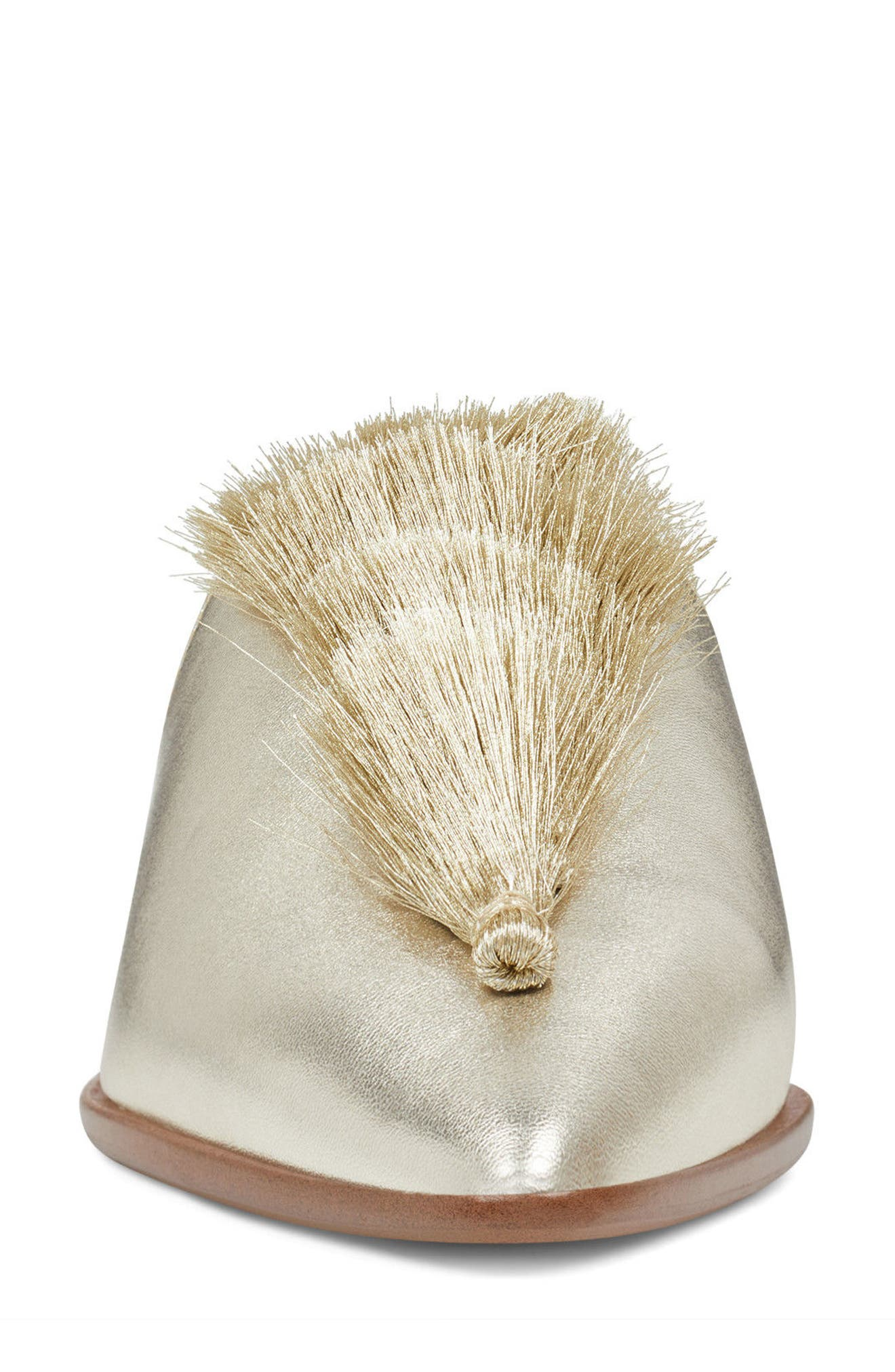 Ollial Fringed Loafer Mule,                             Alternate thumbnail 4, color,                             Light Gold Leather