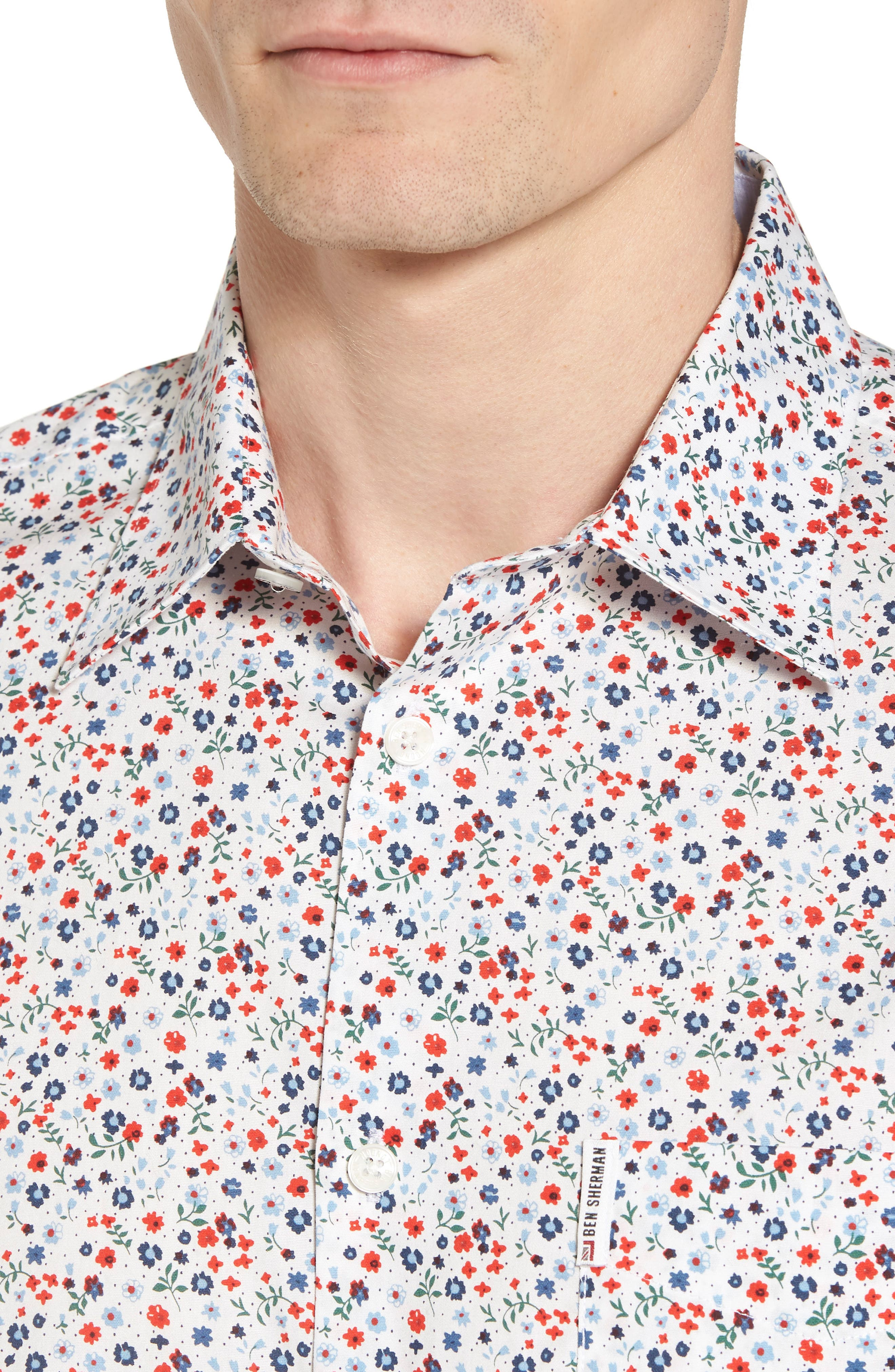 Micro Floral Woven Shirt,                             Alternate thumbnail 4, color,                             White
