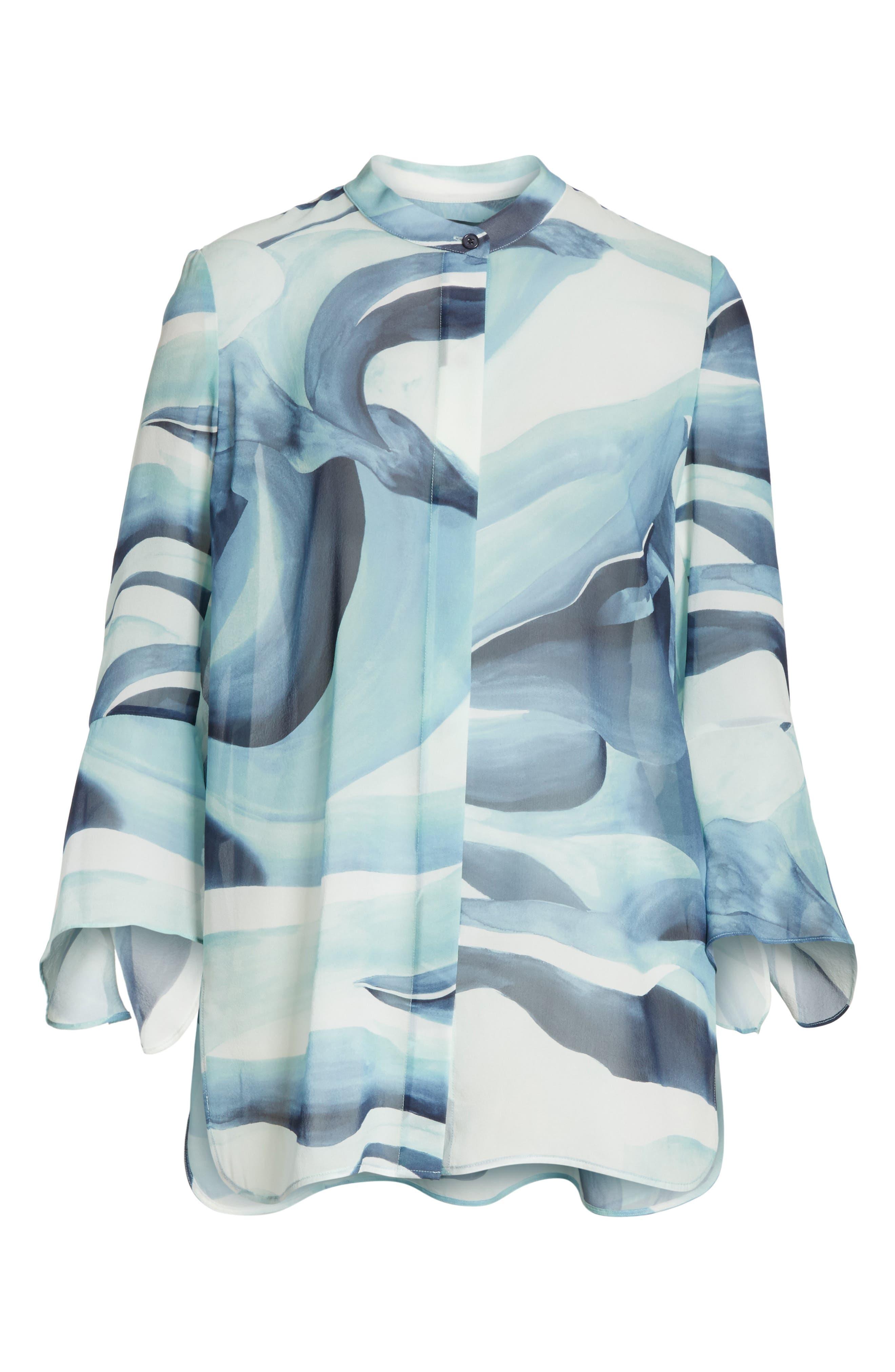 Graydon Print Silk Chiffon Blouse,                             Alternate thumbnail 7, color,                             Herbal Mist Multi