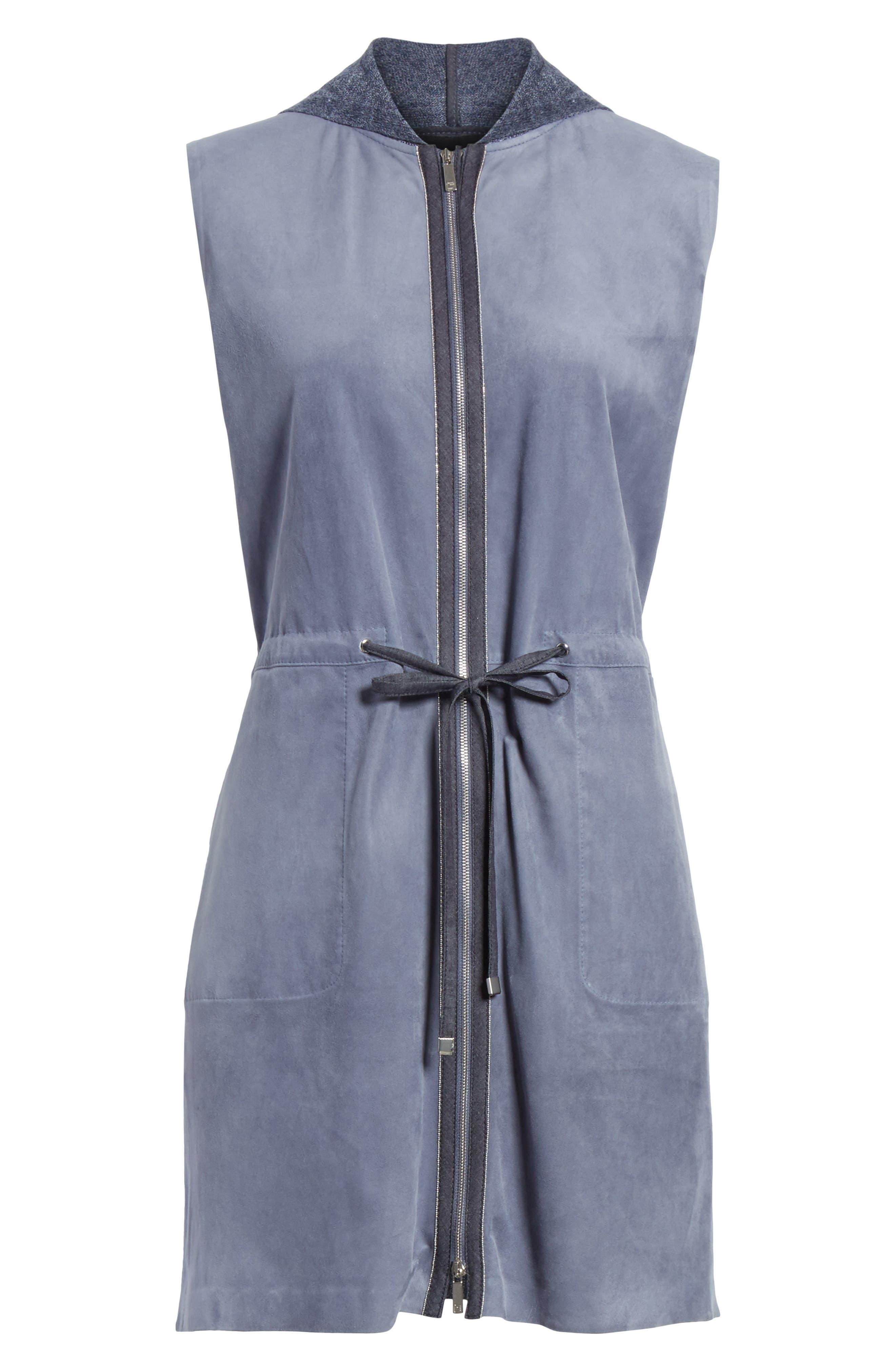 Salma Suede Front Longline Vest,                             Alternate thumbnail 7, color,                             Celestial Blue