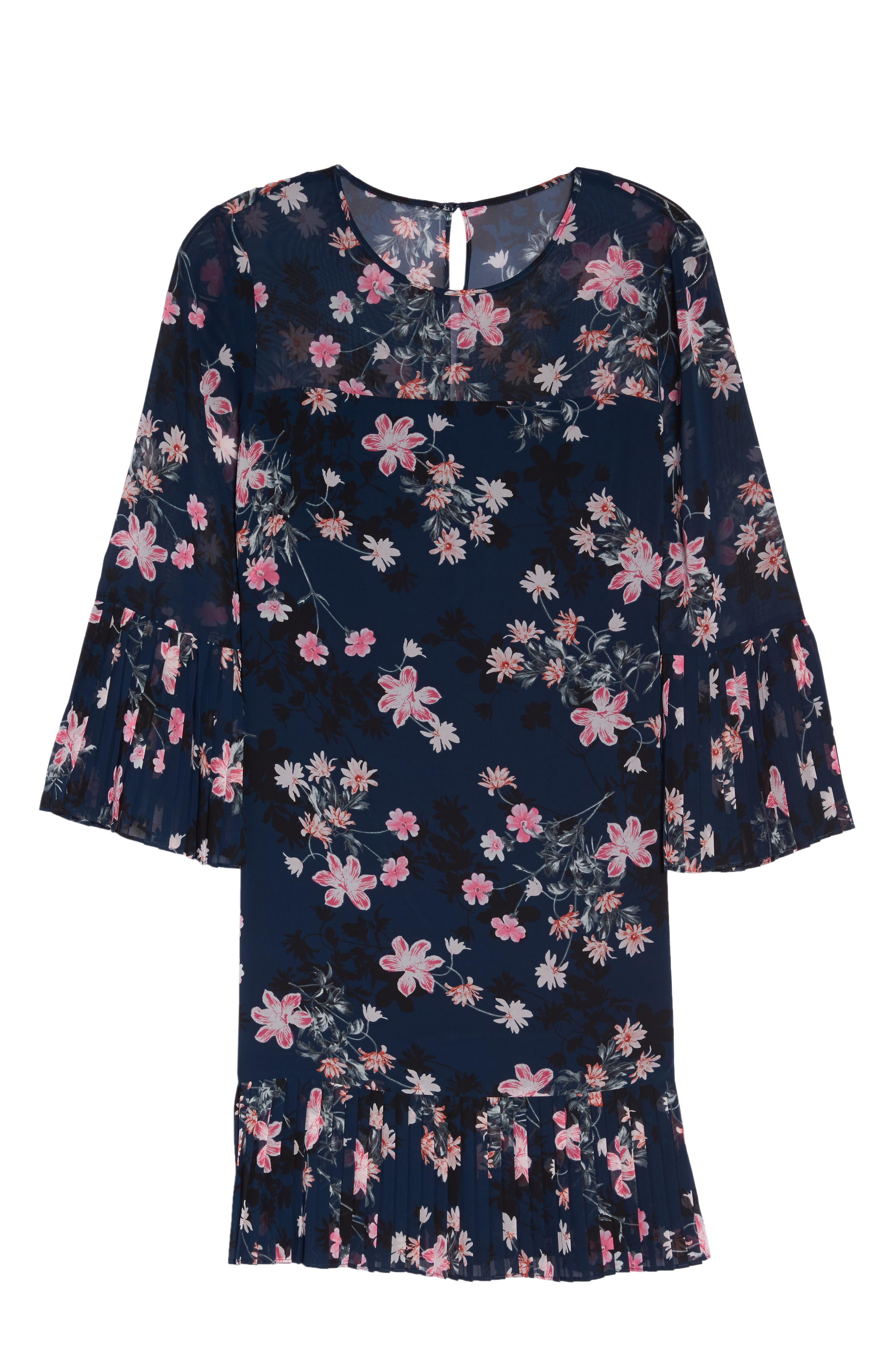 Floral Print Bell Sleeve Dress,                             Alternate thumbnail 6, color,                             Navy