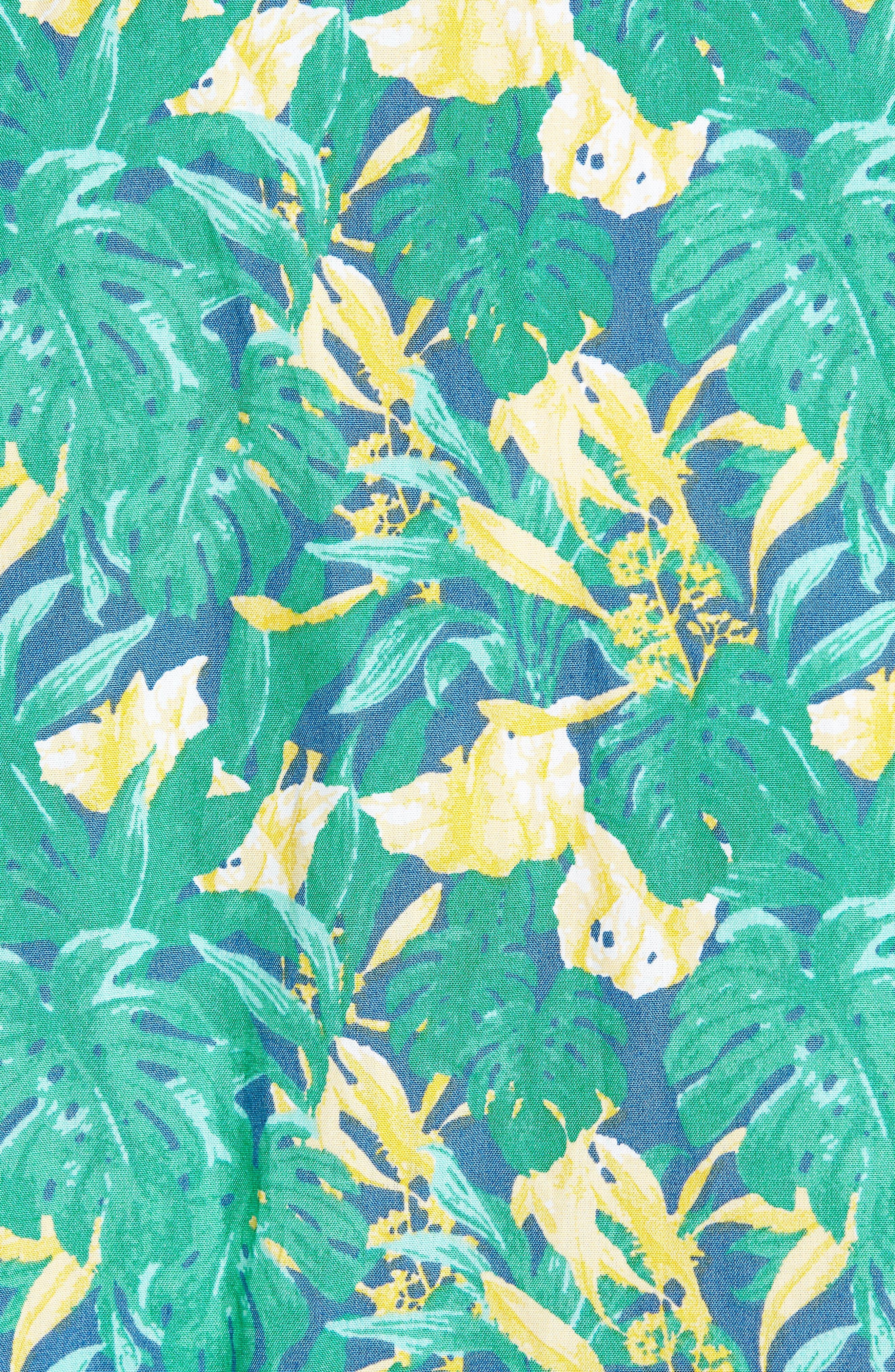 Trim Fit Leaf Print Sport Shirt,                             Alternate thumbnail 5, color,                             Green Yellow Split Leaves