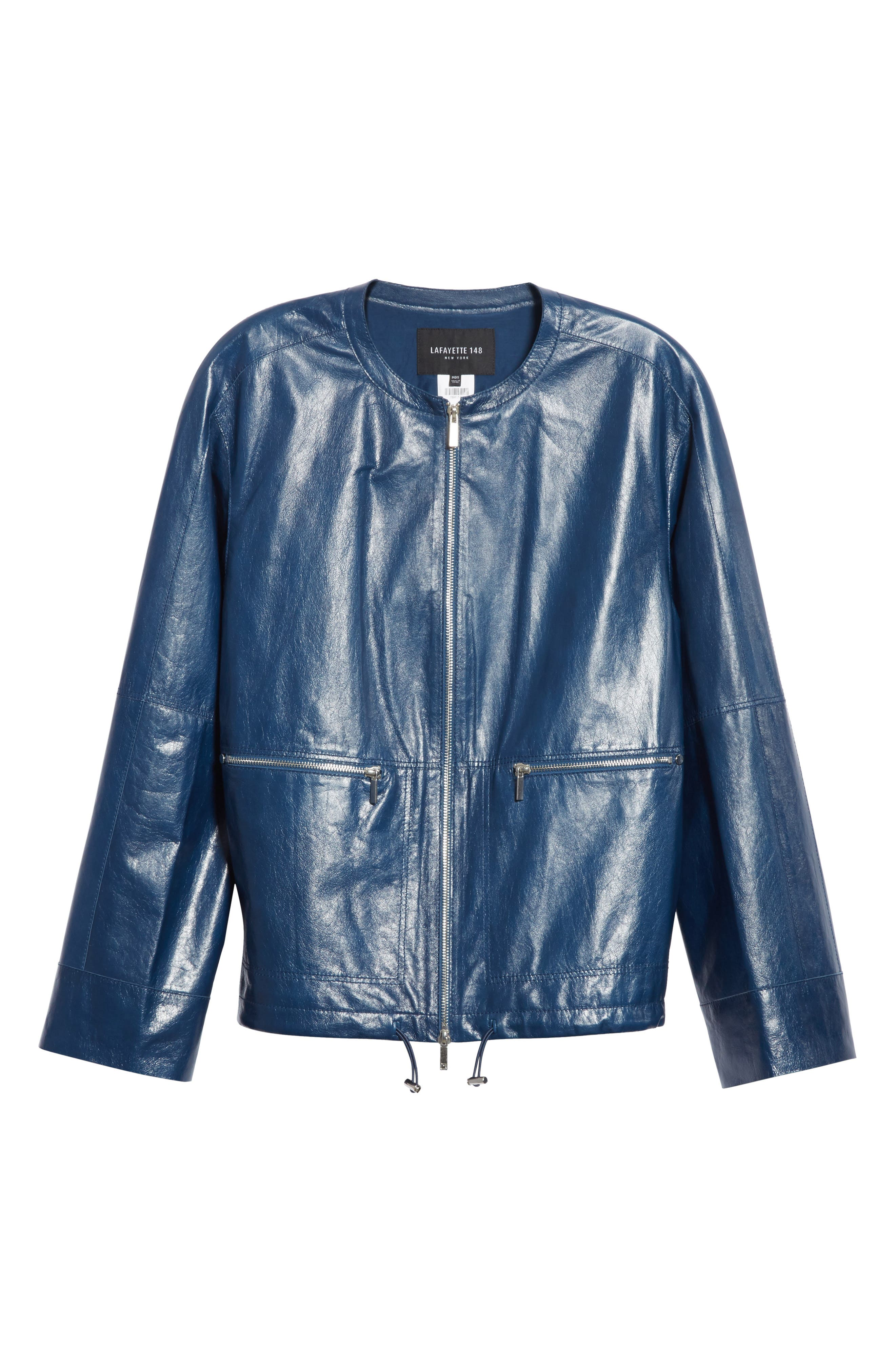 Fleming Leather Jacket,                             Alternate thumbnail 7, color,                             Majolica Blue