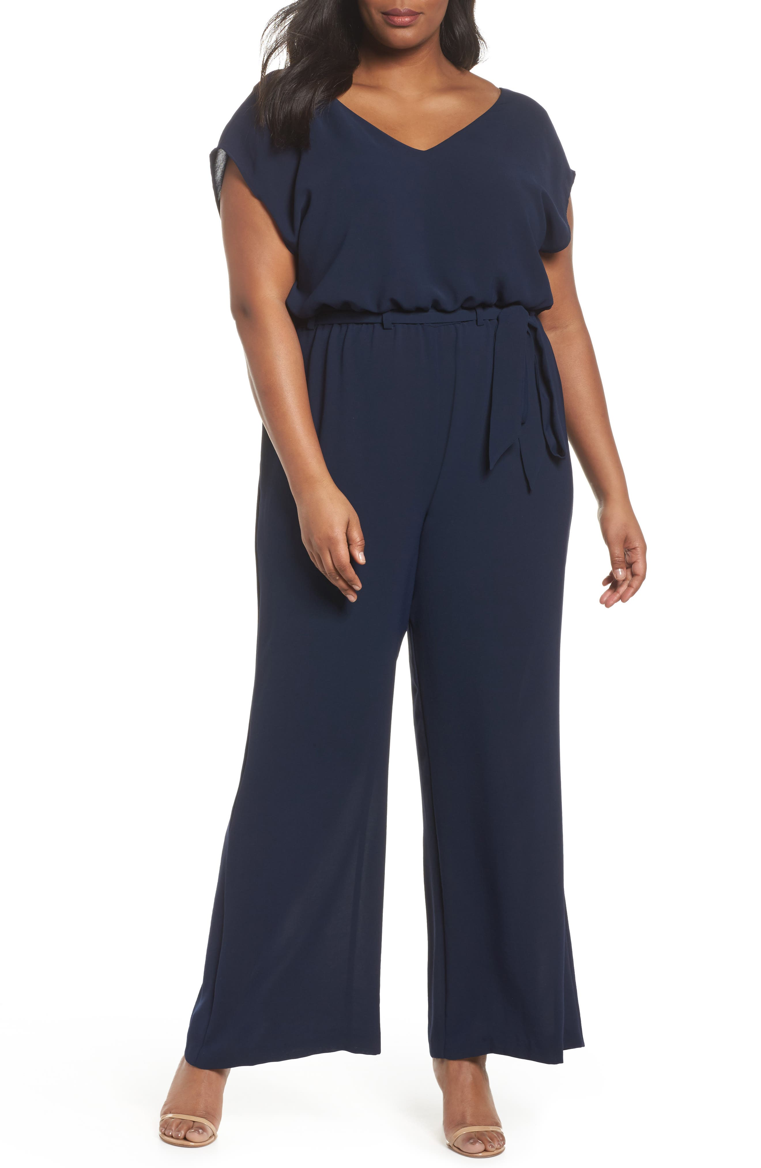 Alternate Image 1 Selected - Adrianna Papell Crepe Belted Jumpsuit (Plus Size)