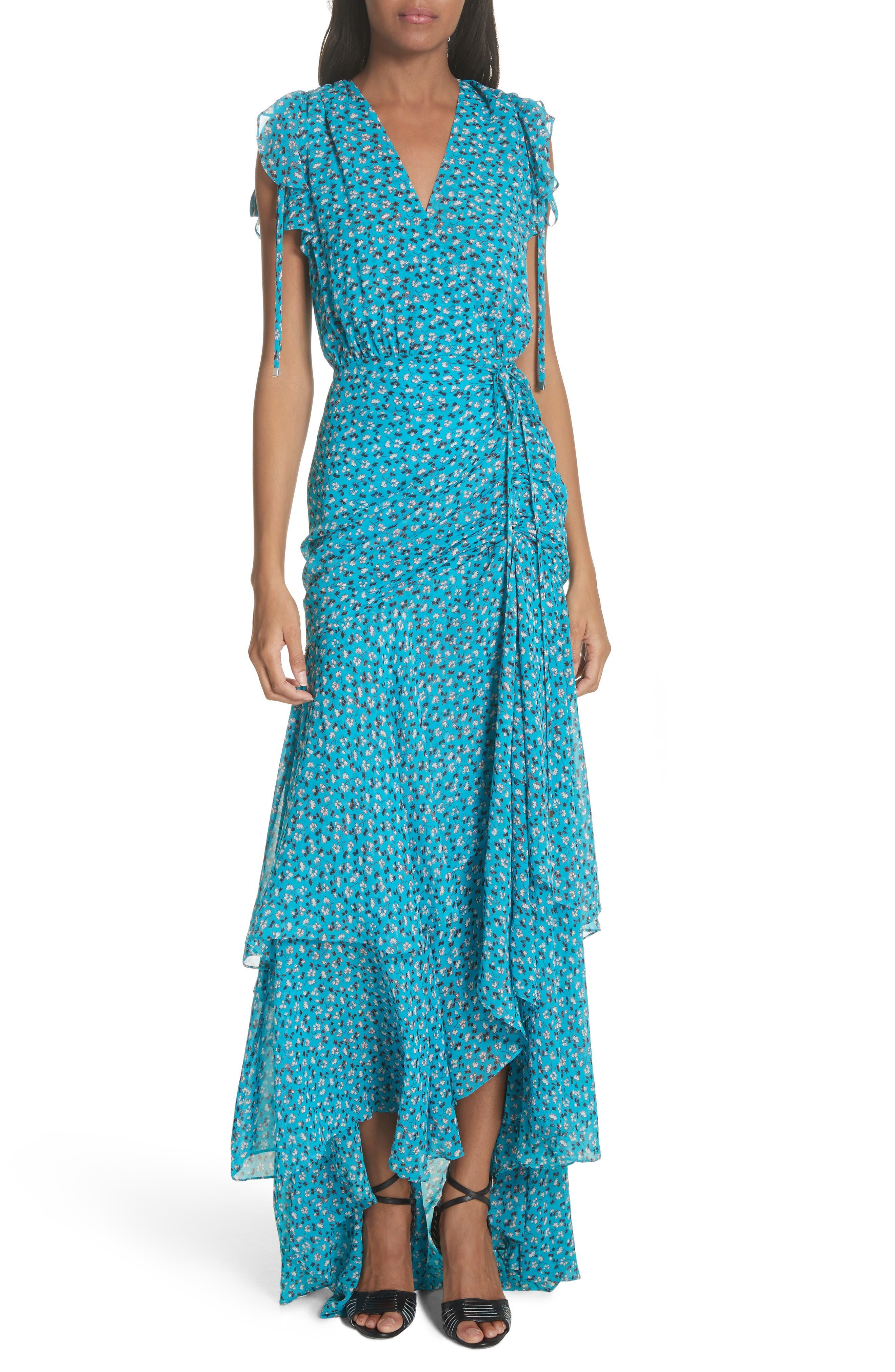 Samara Silk Dress,                         Main,                         color, Blue