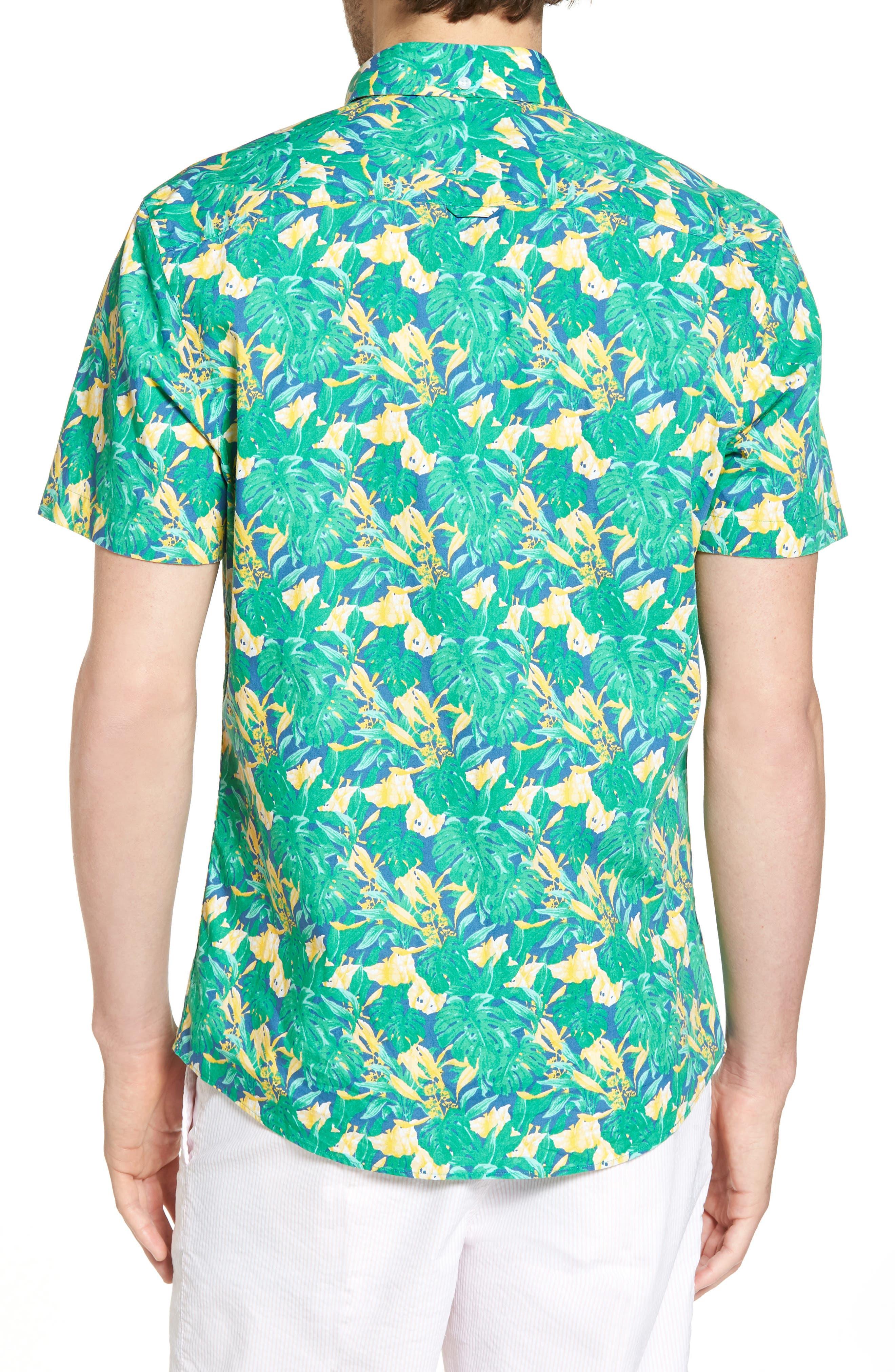 Trim Fit Leaf Print Sport Shirt,                             Alternate thumbnail 3, color,                             Green Yellow Split Leaves