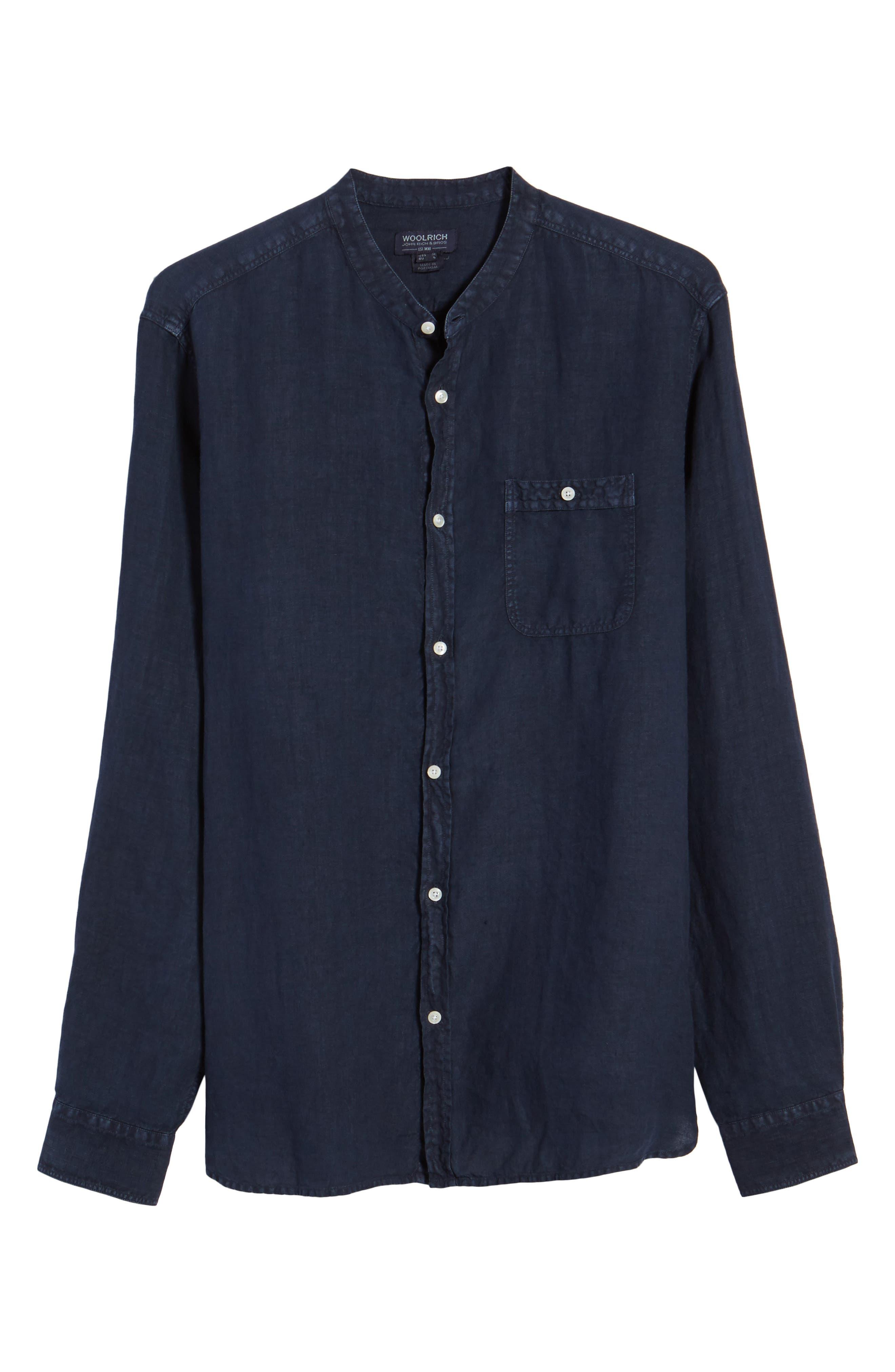 & Bros. Regular Fit Band Collar Linen Shirt,                             Alternate thumbnail 6, color,                             Mood Indigo