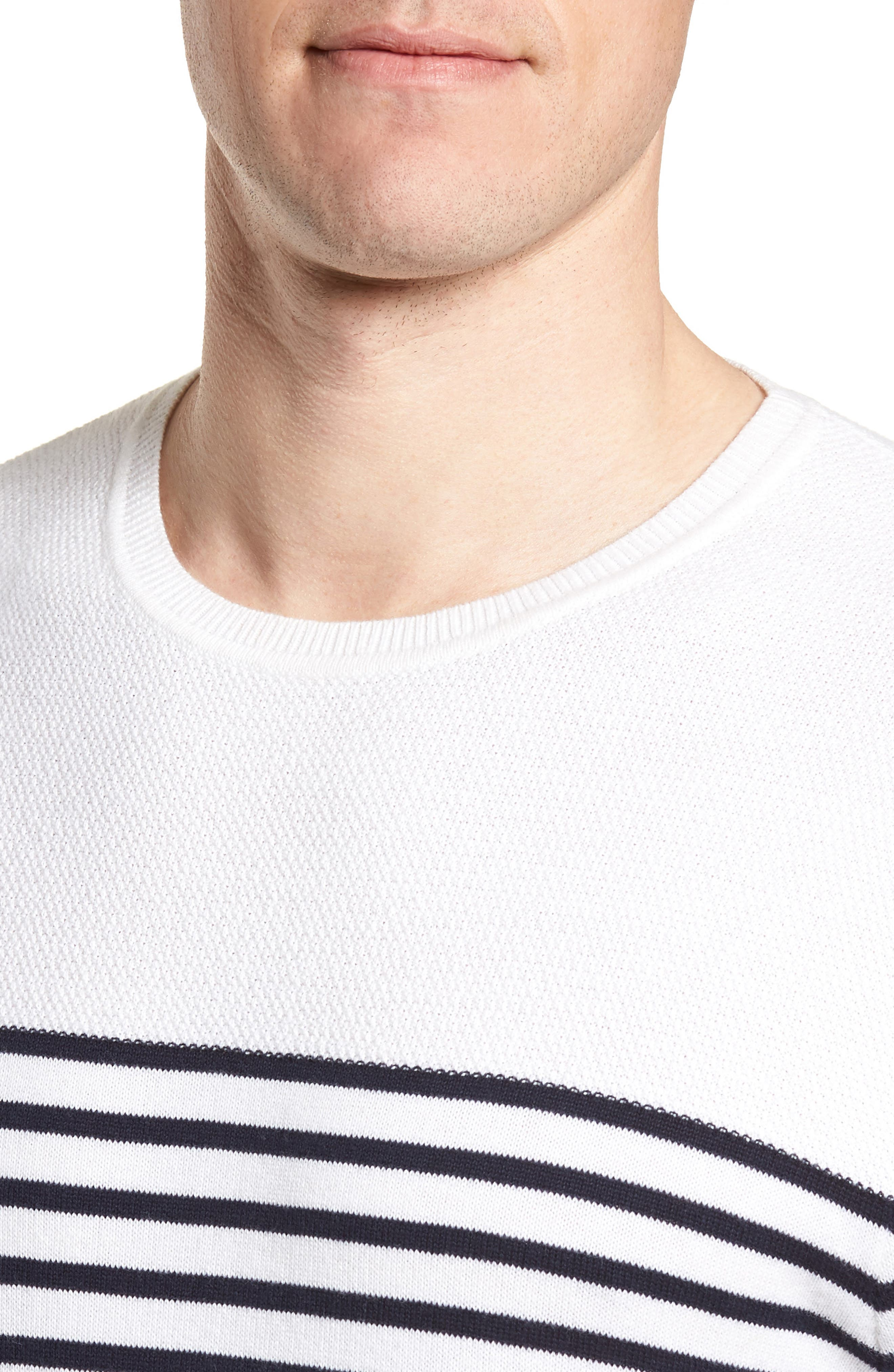 Breton Stripe Sweater,                             Alternate thumbnail 3, color,                             White Navy Stripe