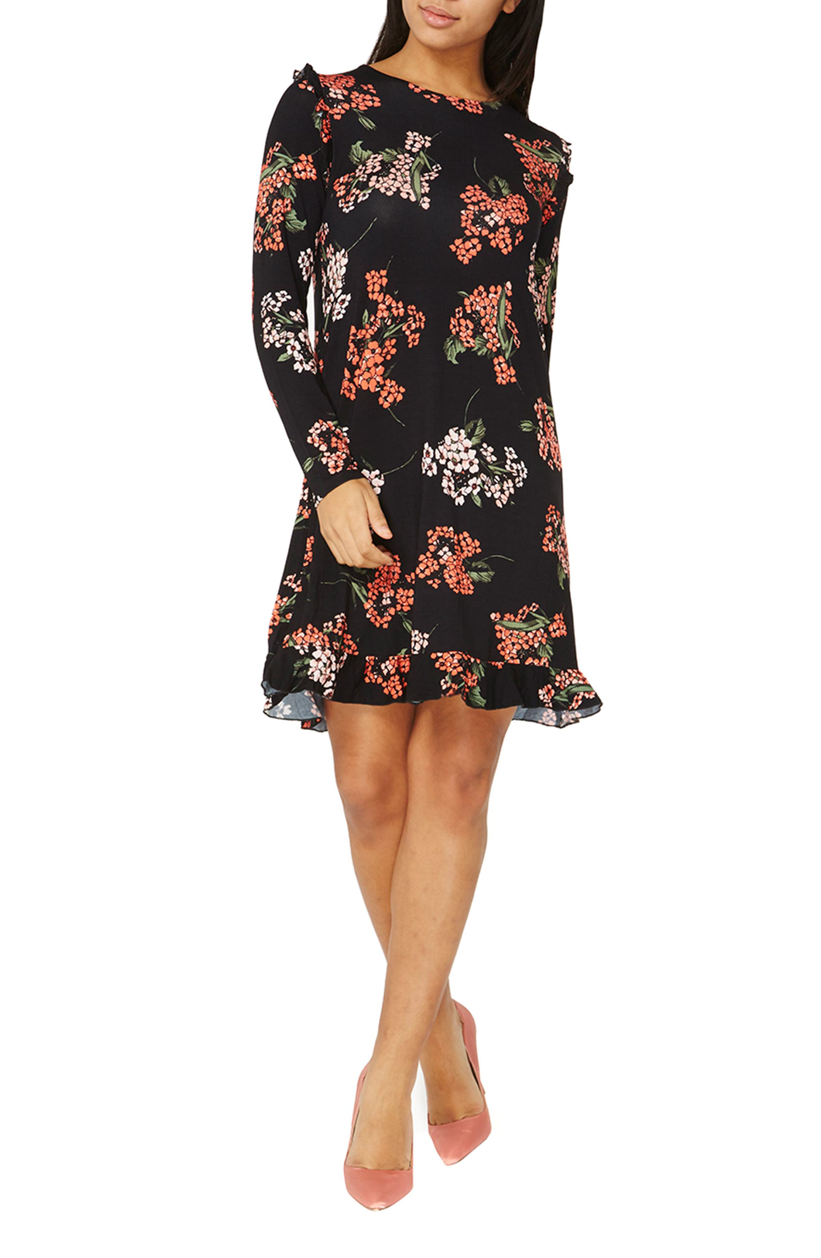 Floral Swing Dress,                             Main thumbnail 1, color,                             Black