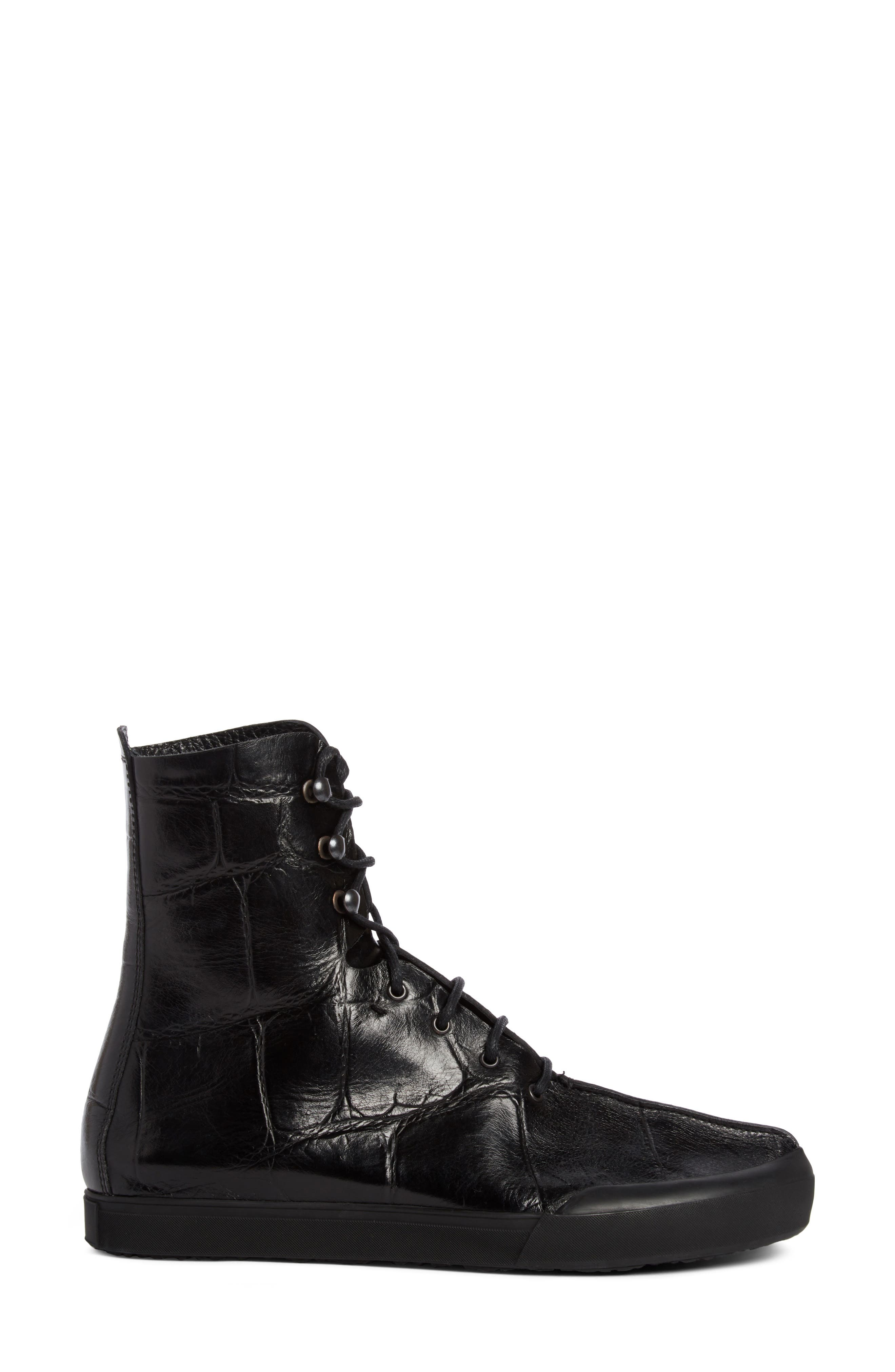 Croc Embossed Lace-Up Boot,                             Alternate thumbnail 4, color,                             Black