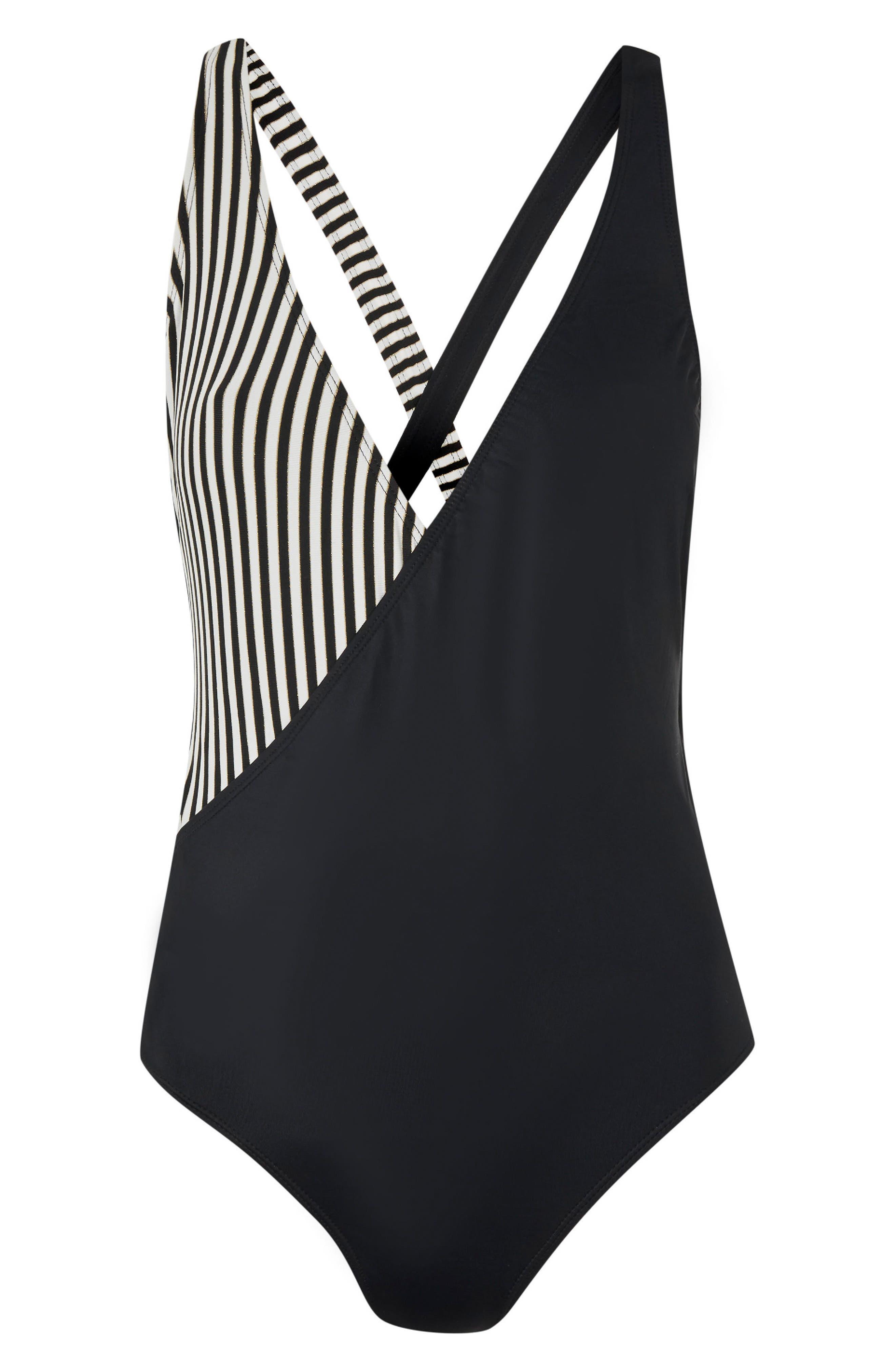 Stripe Wrap Swimsuit,                             Alternate thumbnail 3, color,                             Black Multi