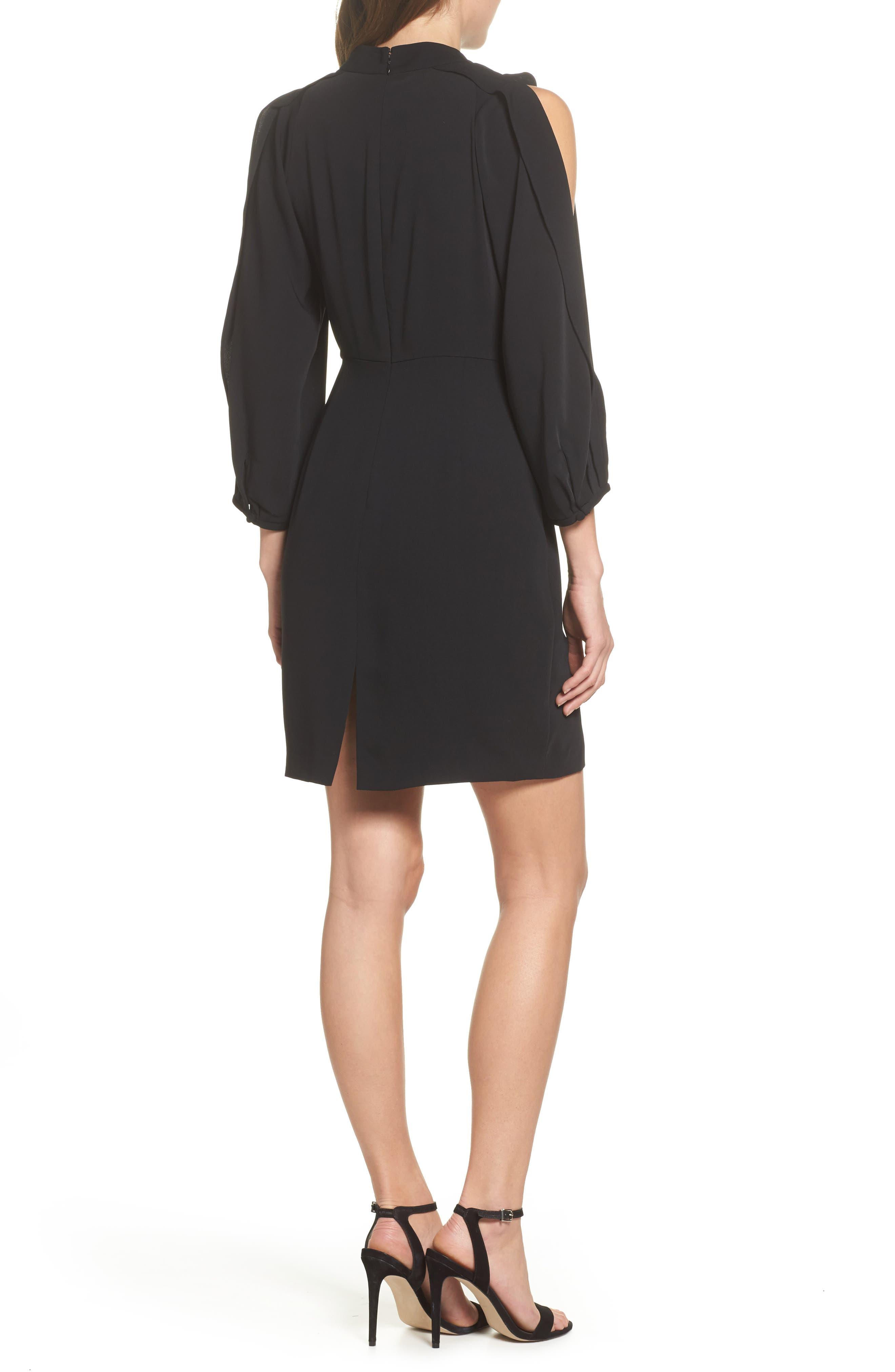 Split Sleeve Minidress,                             Alternate thumbnail 2, color,                             Black